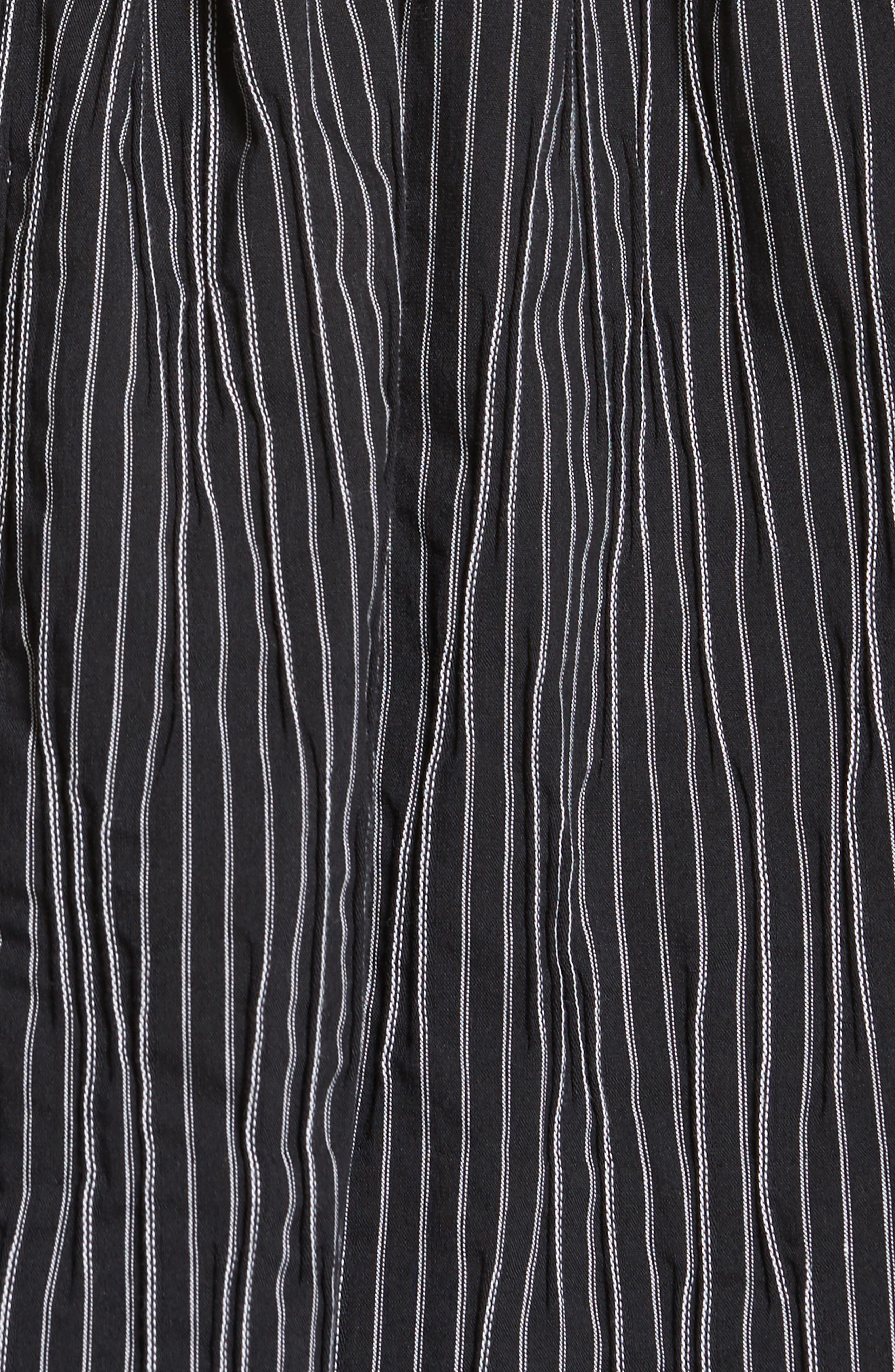 Stripe Crinkle Cotton Blend Swing Top,                             Alternate thumbnail 5, color,                             Black/ White Stripe