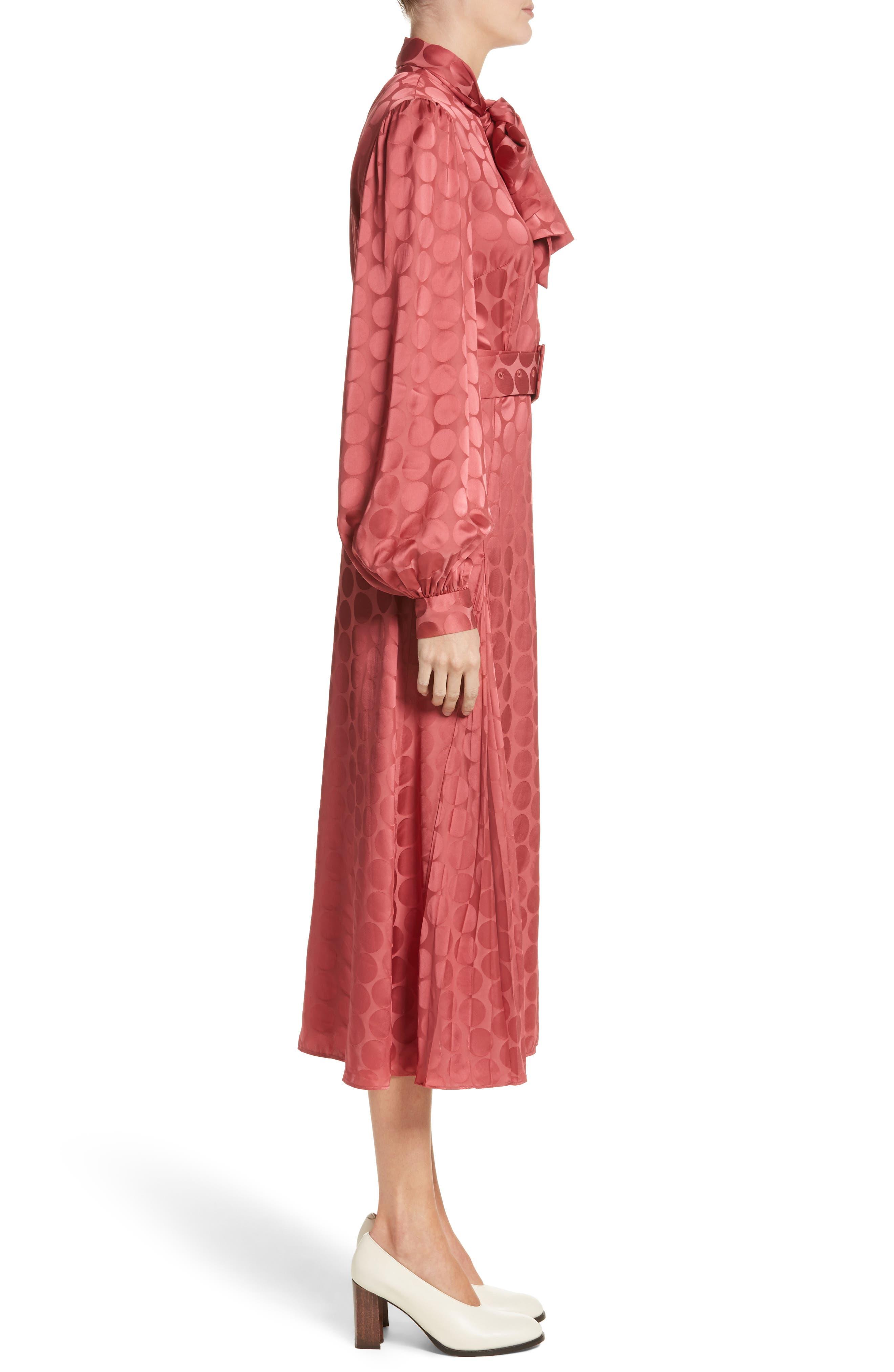 Tonal Dot Tie Neck Midi Dress,                             Alternate thumbnail 3, color,                             Coral