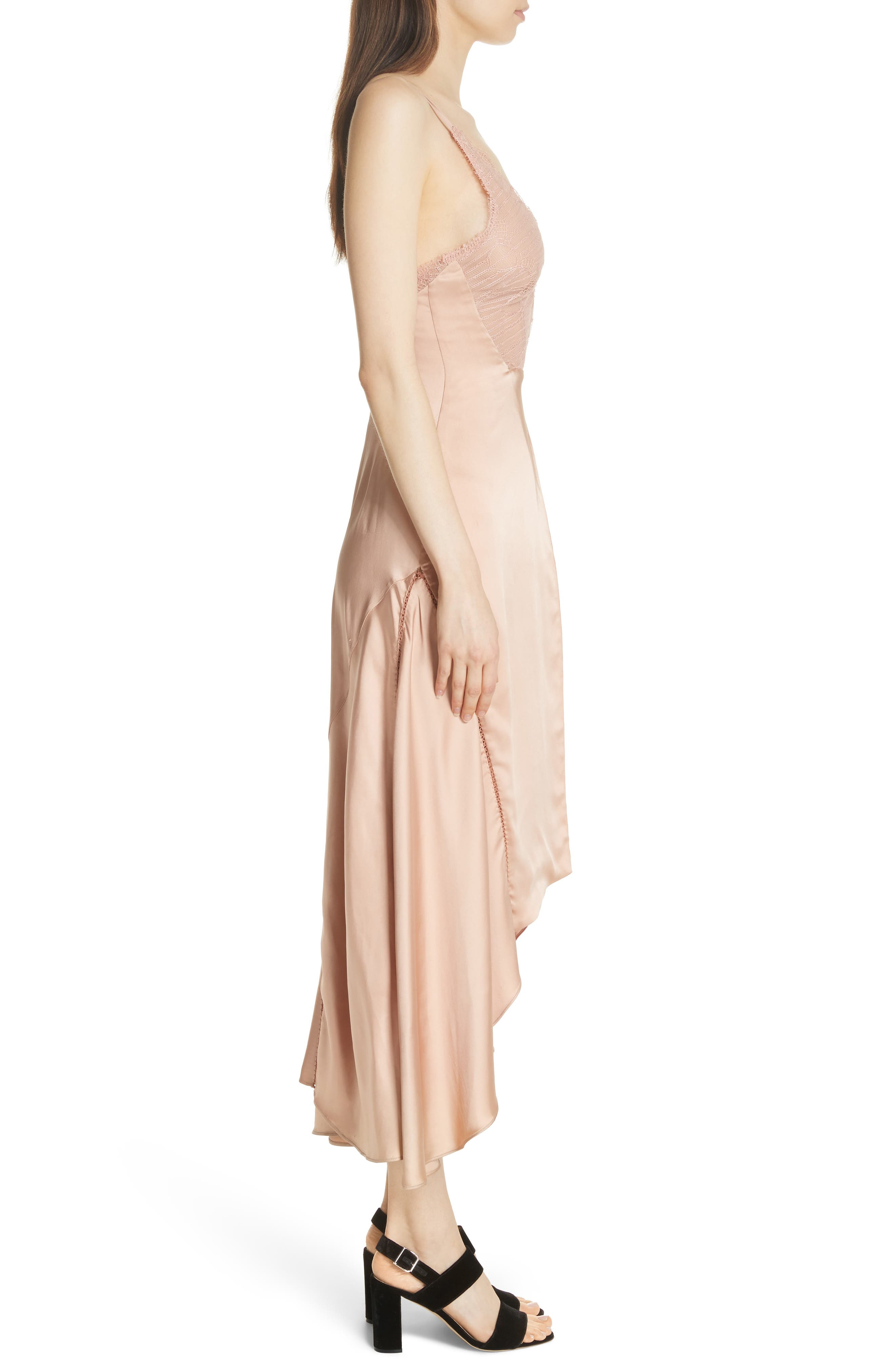 Mixed Trim Satin Handkerchief Dress,                             Alternate thumbnail 5, color,                             Bronze