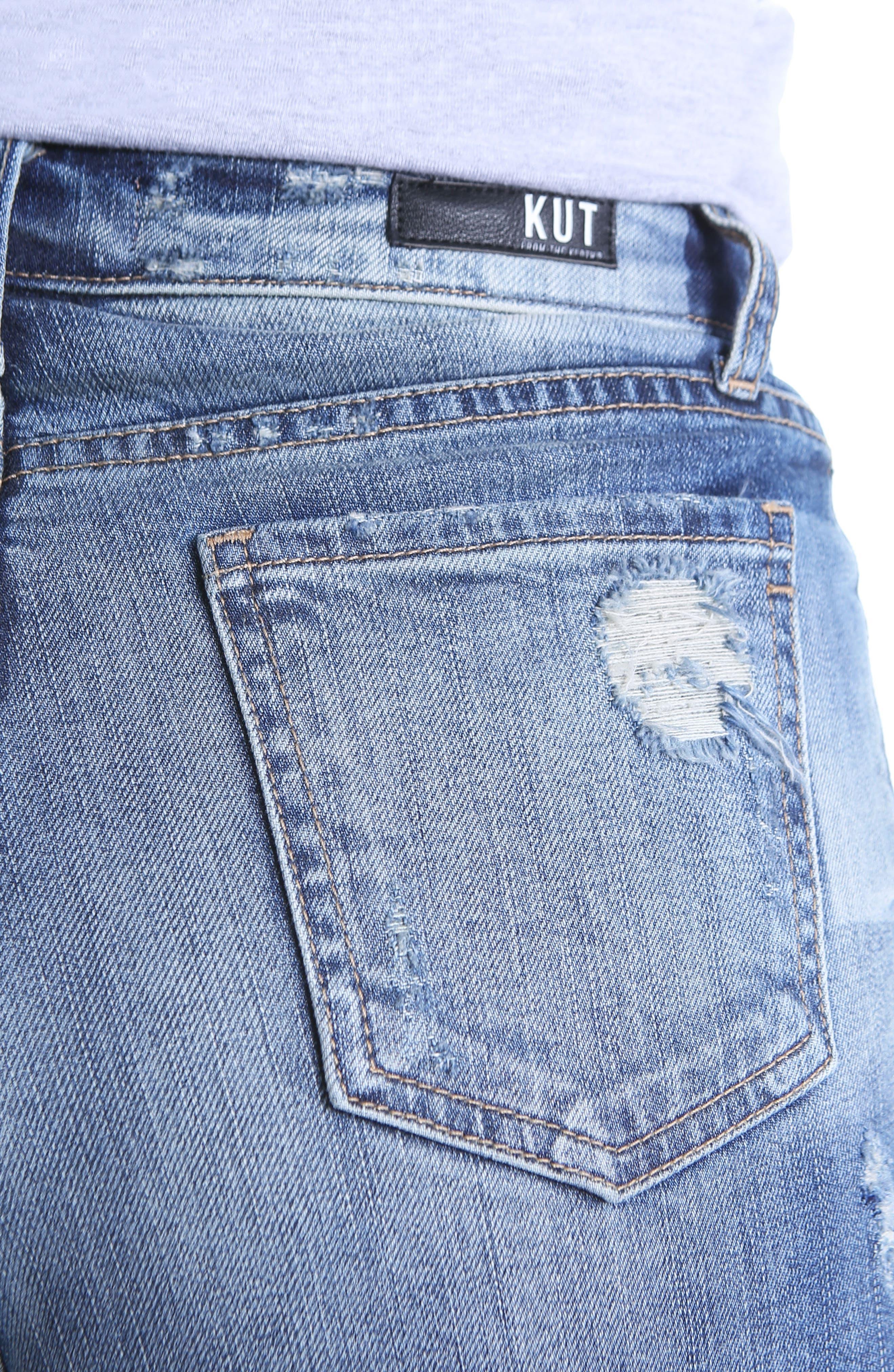 Alternate Image 4  - KUT Kollection High Waist Ripped Denim Shorts (Debuted)