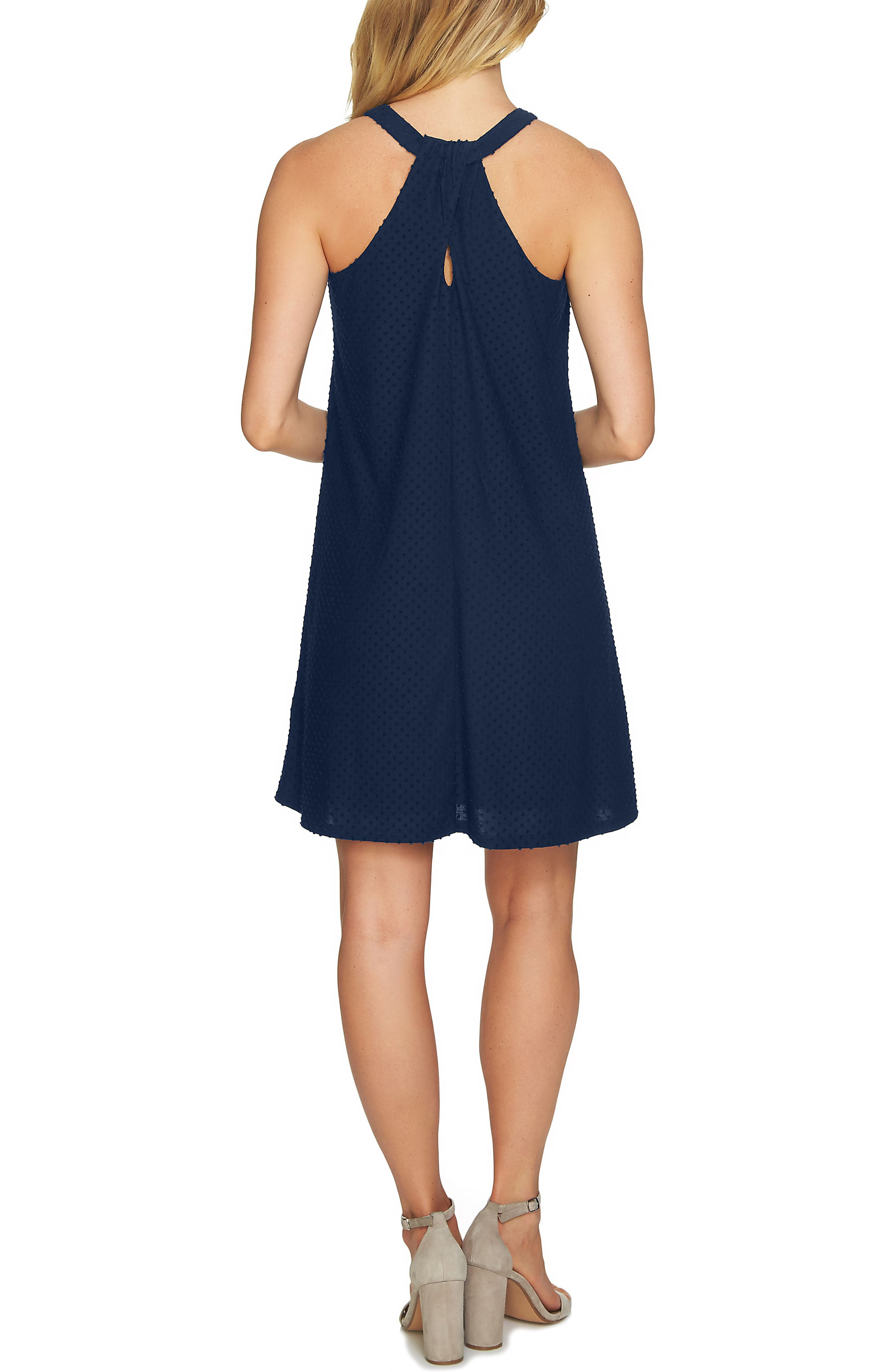 Twist Back Clip Dot Sleeveless Dress,                             Alternate thumbnail 2, color,                             Naval Navy