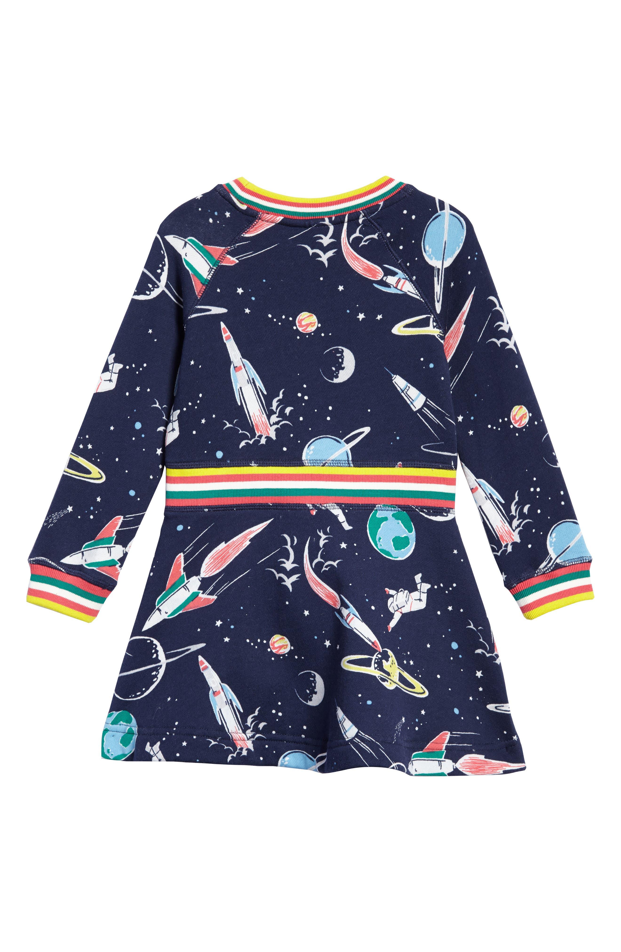 Space Sweatshirt Dress,                             Alternate thumbnail 2, color,                             School Navy Space