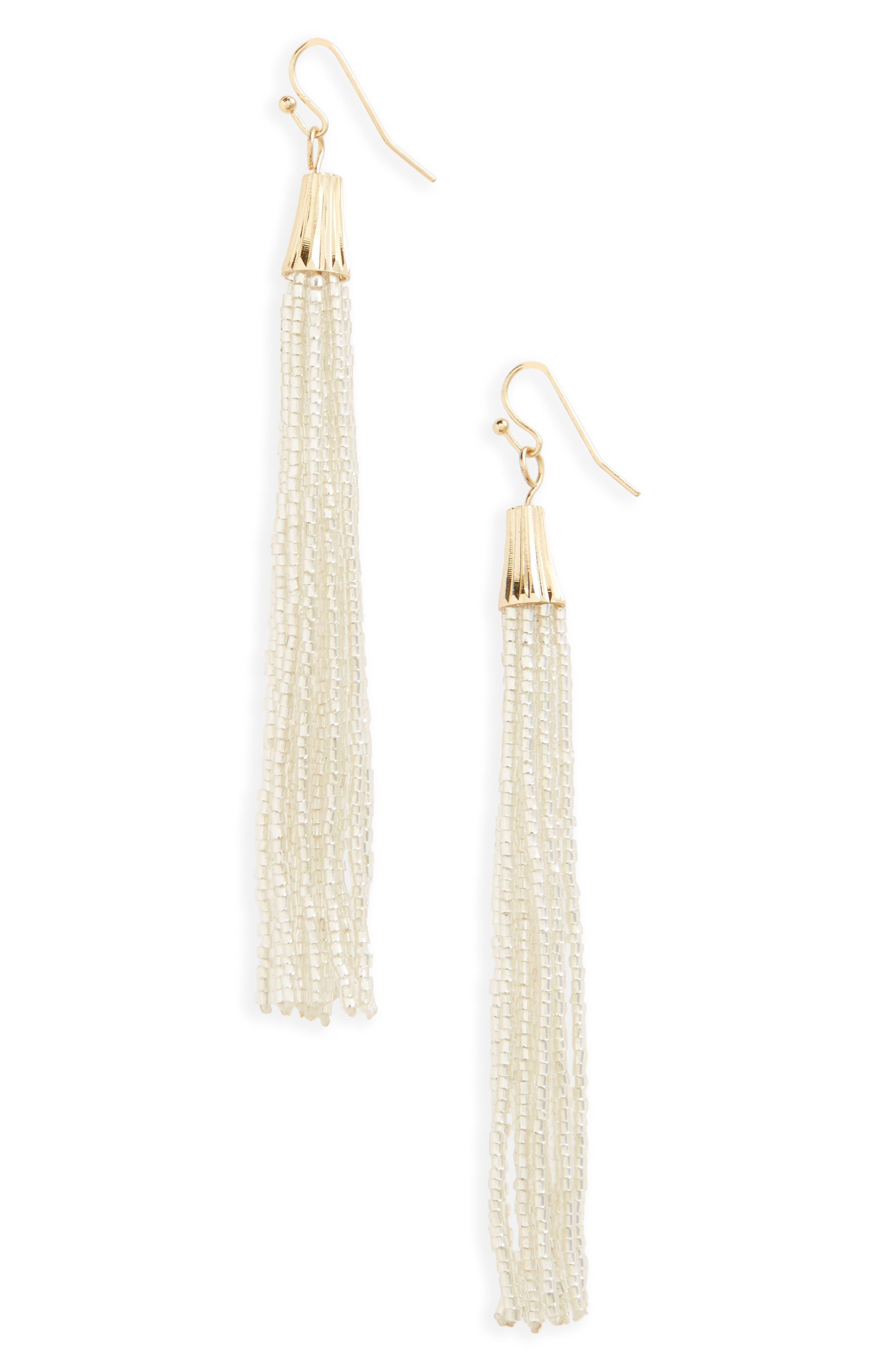 Beaded Tassel Earrings,                         Main,                         color, Silver