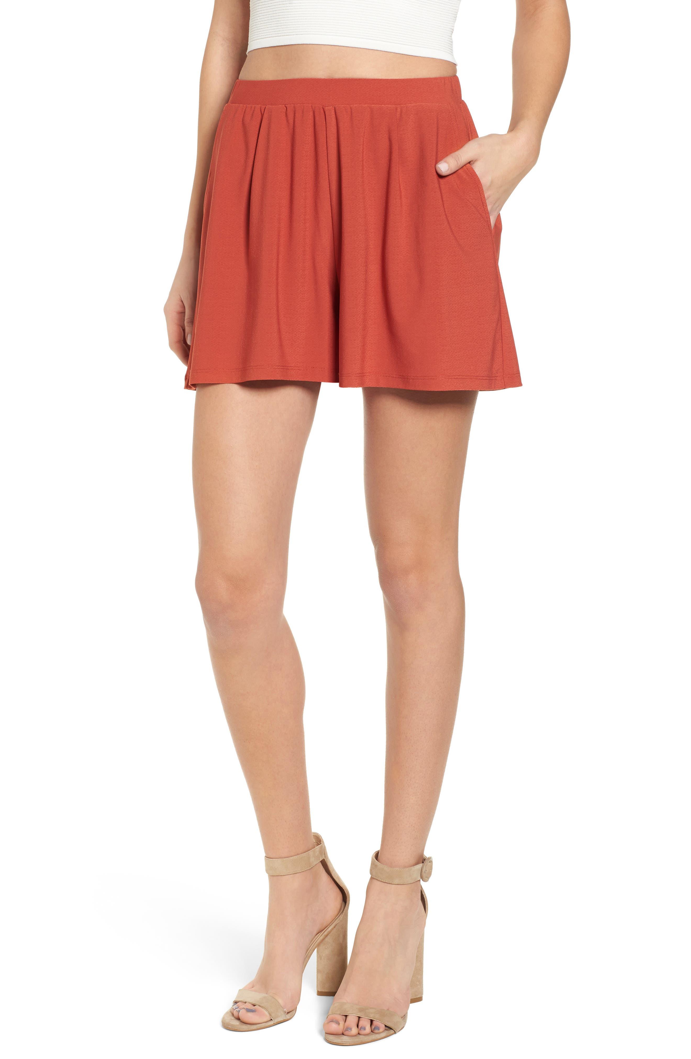 Pleat Front Shorts,                         Main,                         color, Rust Bossa Nova