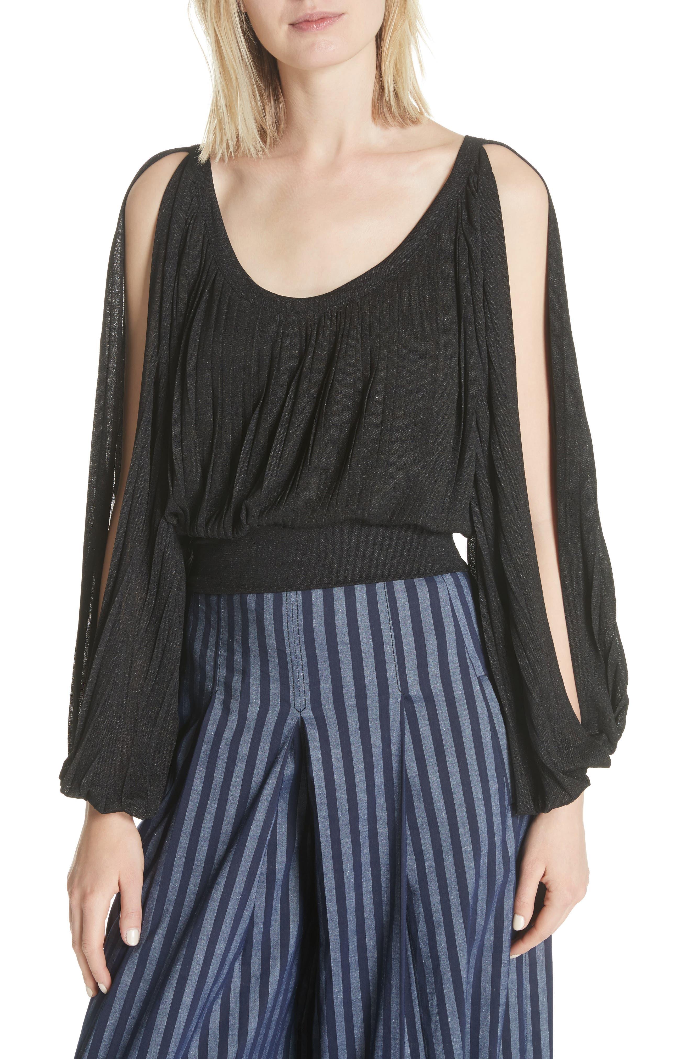 Slit Sleeve Peasant Top,                         Main,                         color, Black