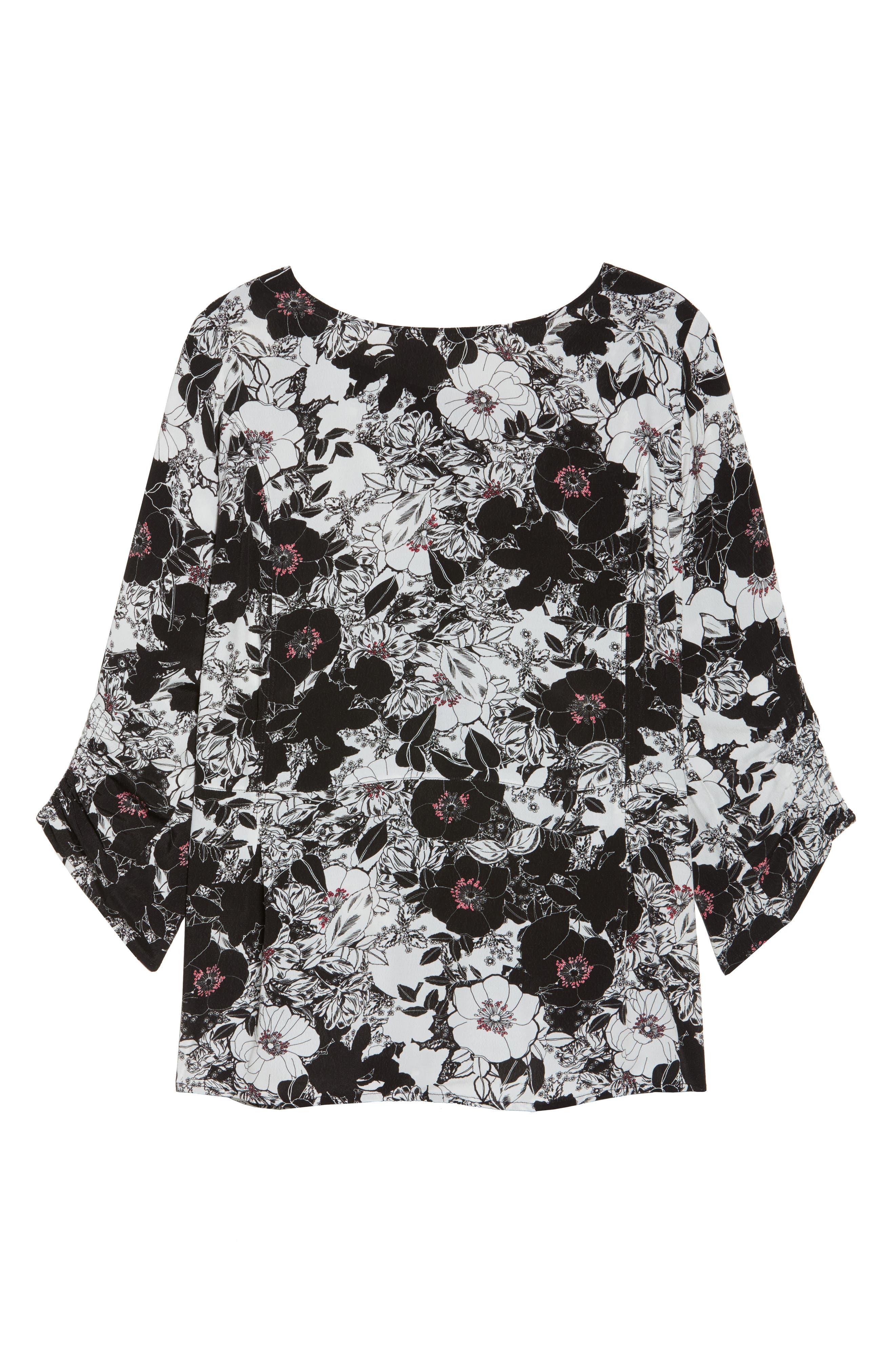 Alternate Image 6  - Sejour Smocked Sleeve Top (Plus Size)
