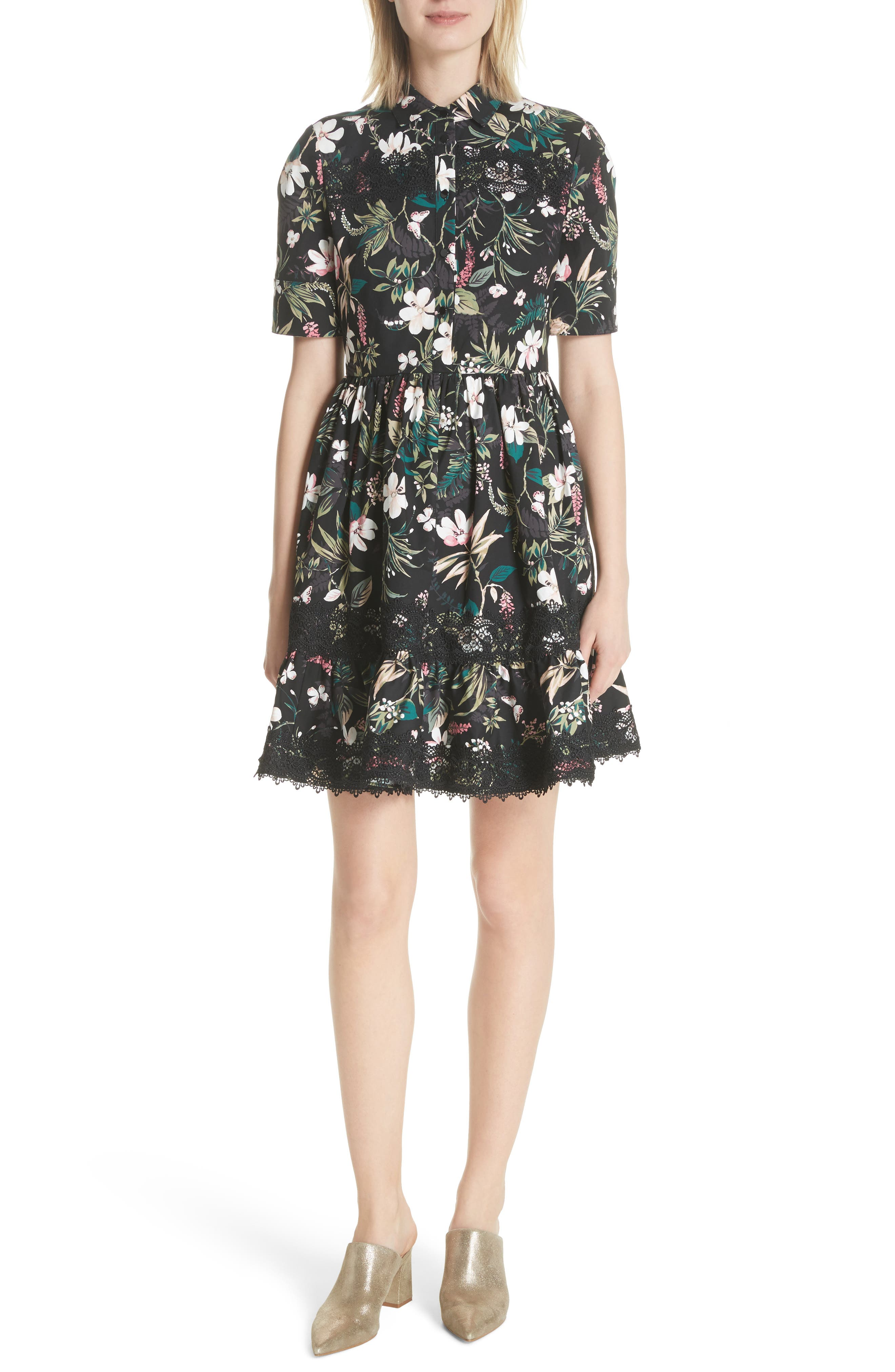botanical poplin shirtdress,                         Main,                         color, Black