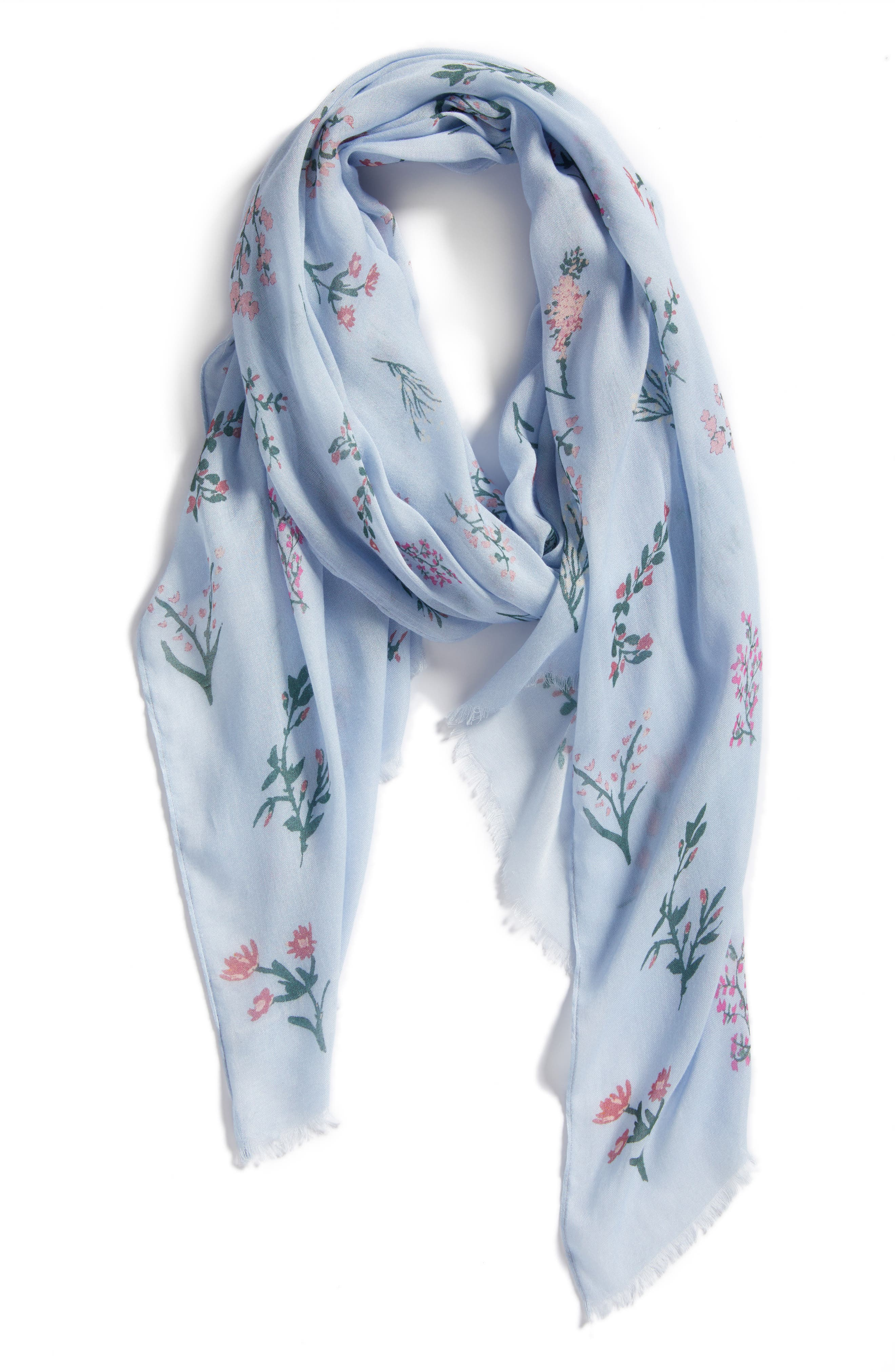 Pressed Flowers Scarf,                             Alternate thumbnail 2, color,                             Skyway