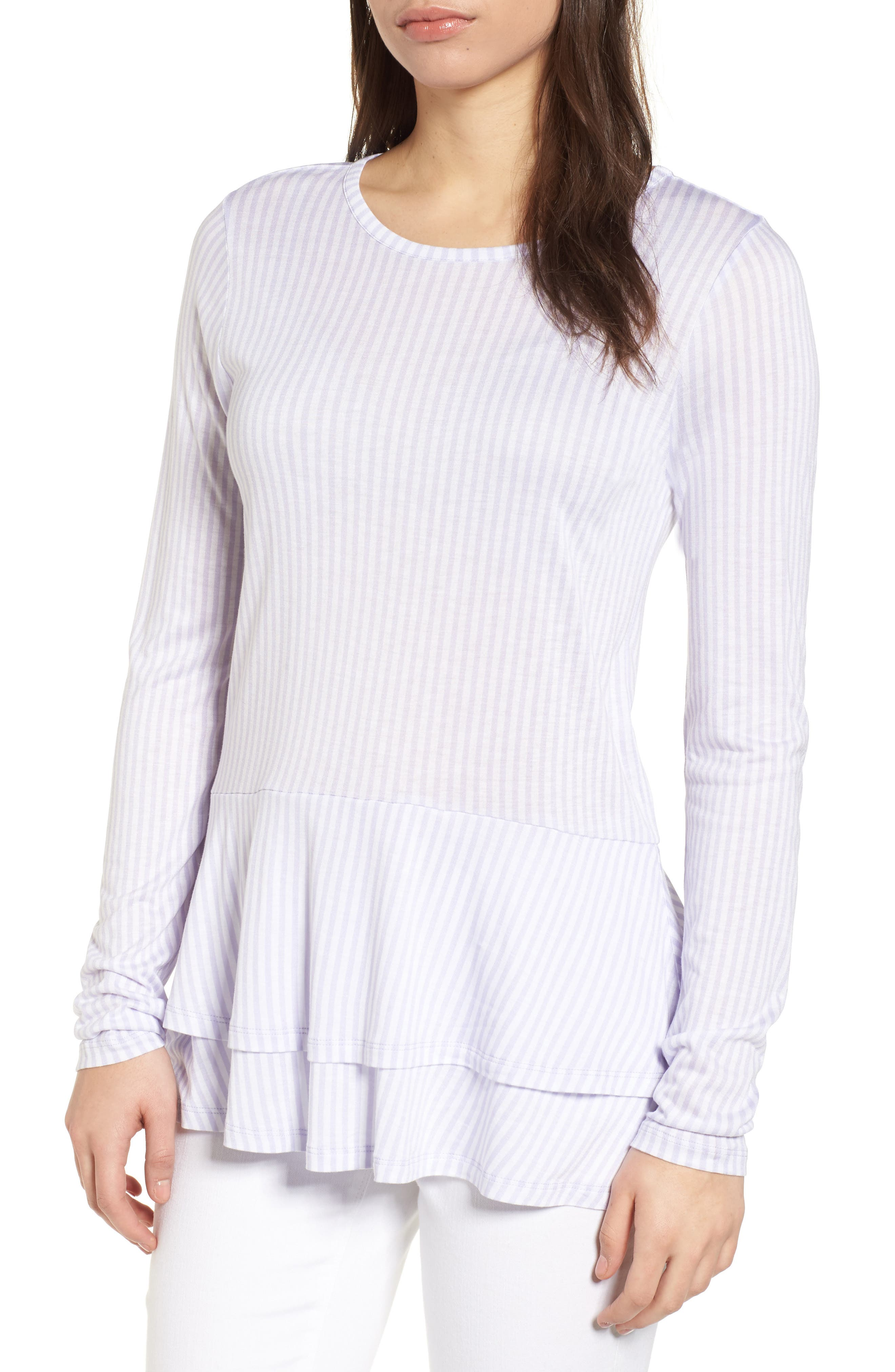 Stripe Layered Hem Top,                         Main,                         color, Light Quartz/ White