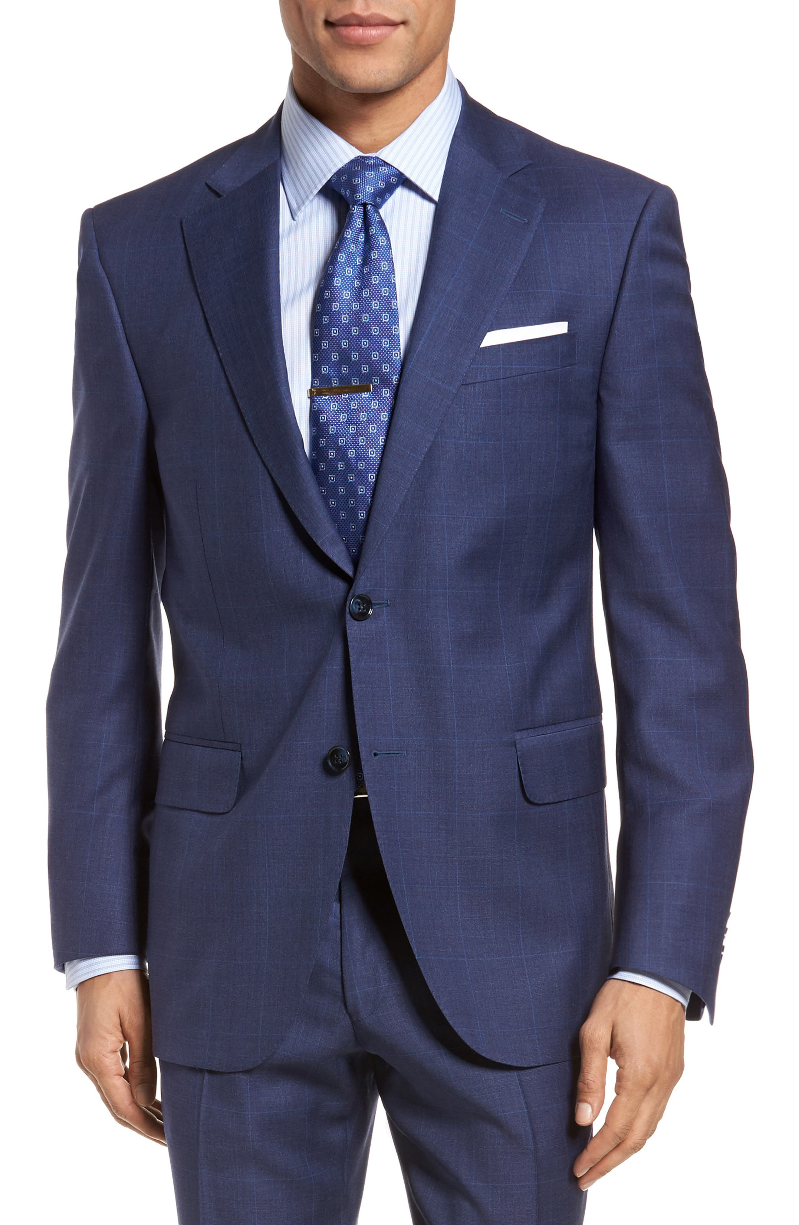 Classic Fit Plaid Wool Suit,                             Alternate thumbnail 5, color,                             Blue