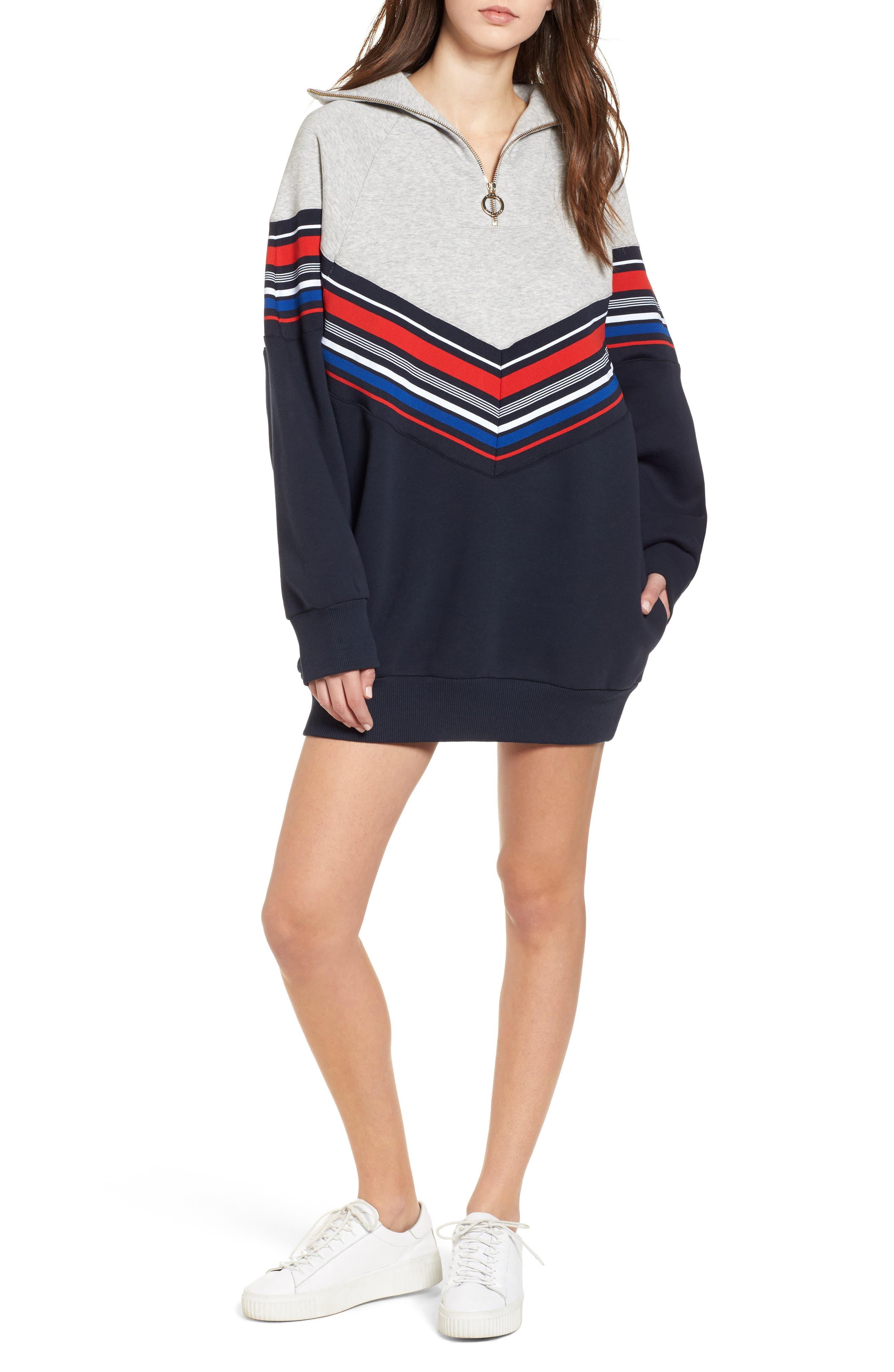 x Gigi Hadid Racing Sweatshirt Dress,                         Main,                         color, Midnight/ Hthr