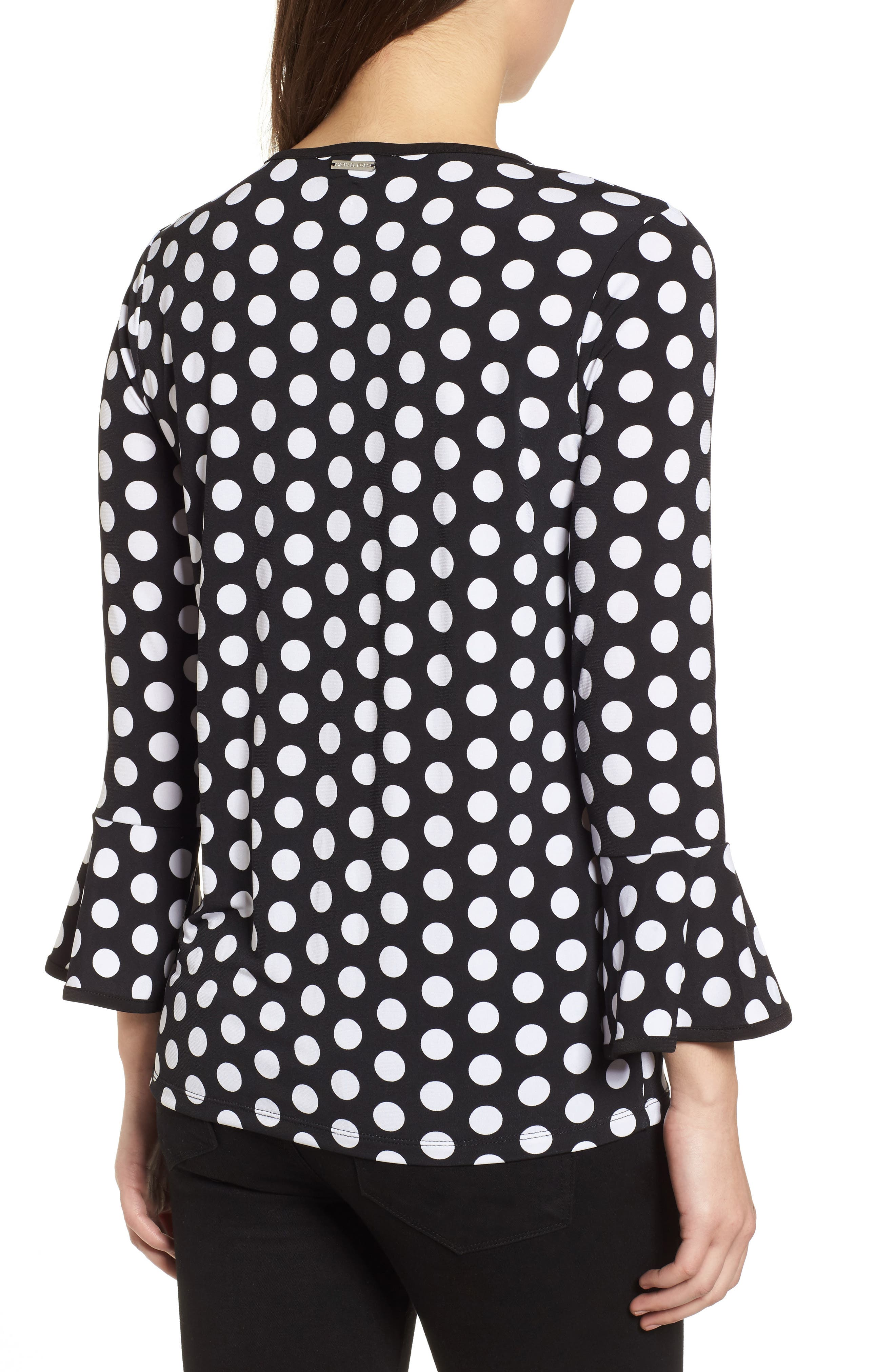 Simple Dots Flare Sleeve Top,                             Alternate thumbnail 2, color,                             Black/ White