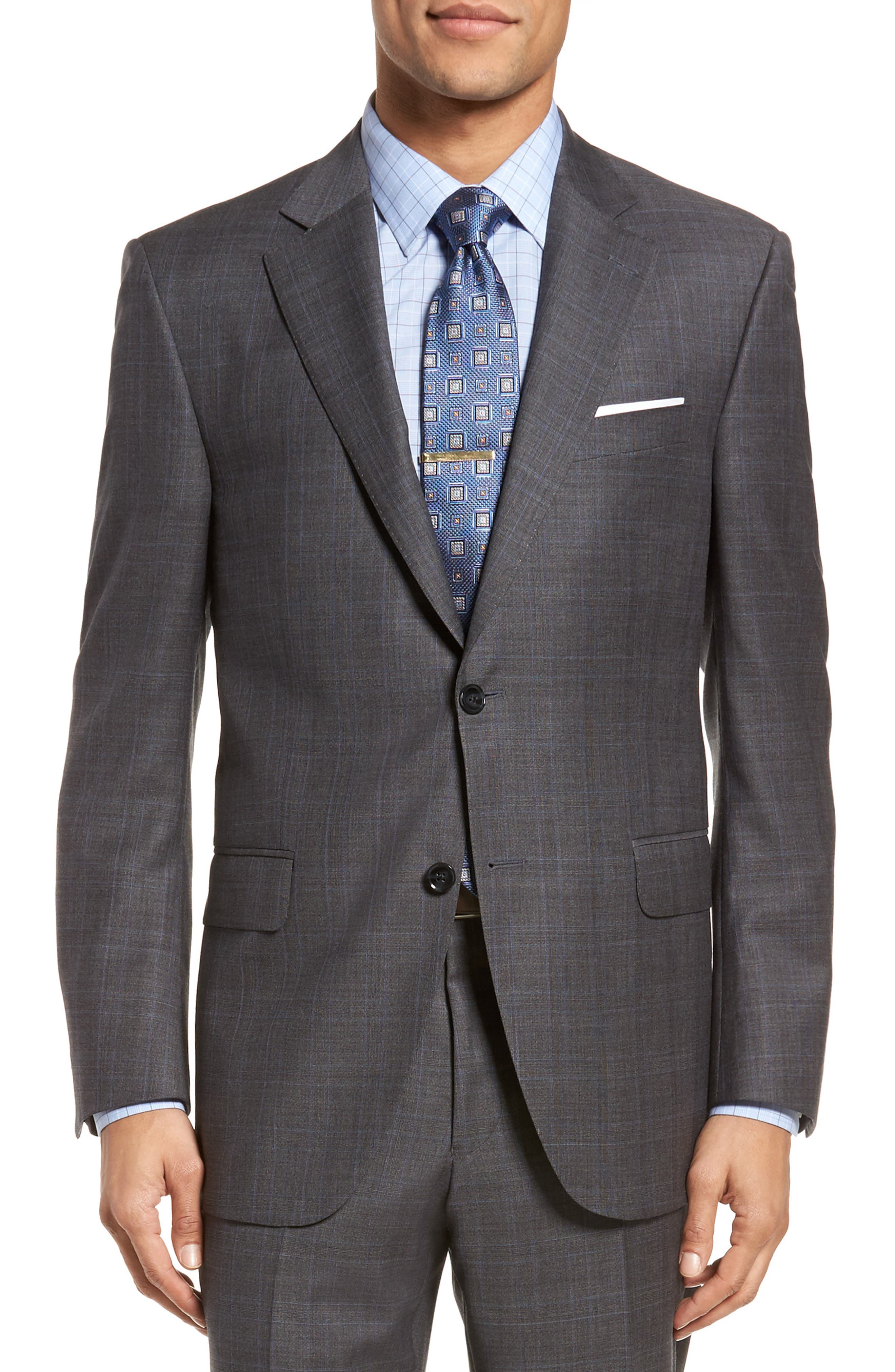 Classic Fit Windowpane Wool Suit,                             Alternate thumbnail 5, color,                             Grey