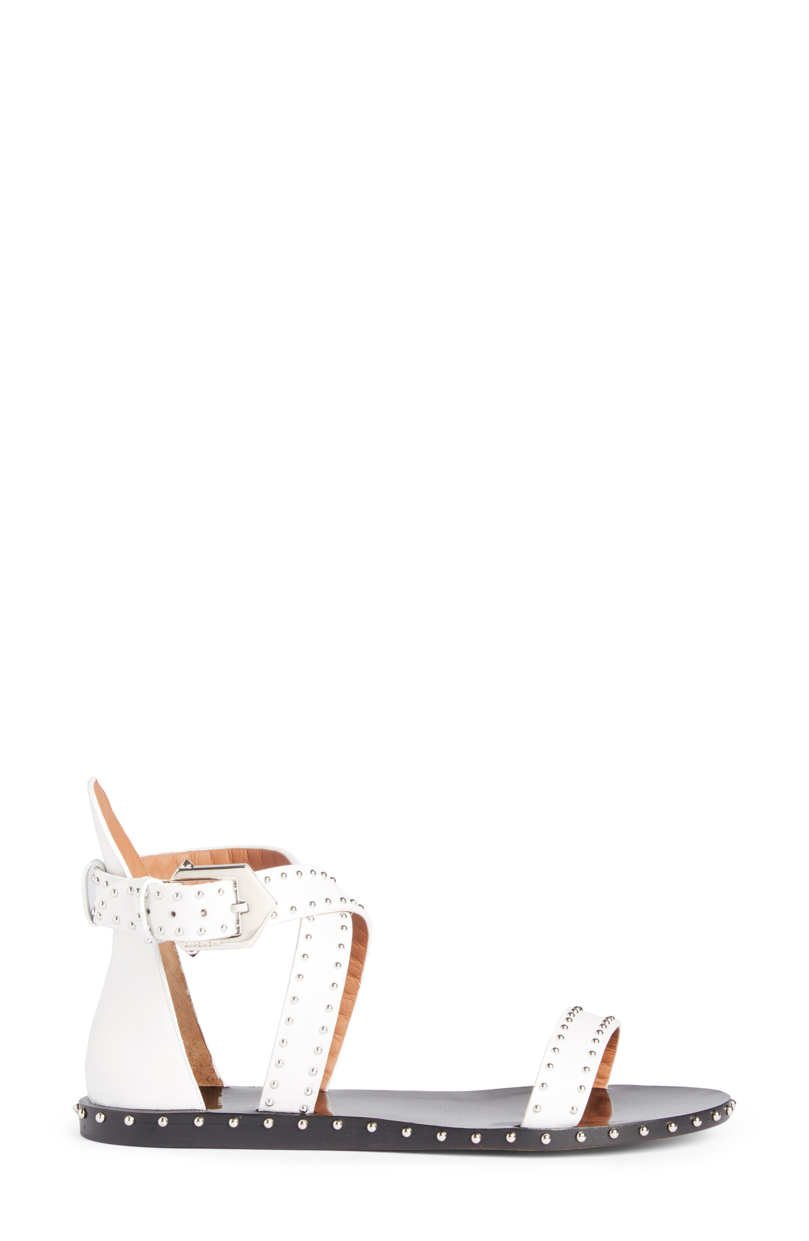 Elegant Strappy Studded Sandal,                             Alternate thumbnail 4, color,                             White