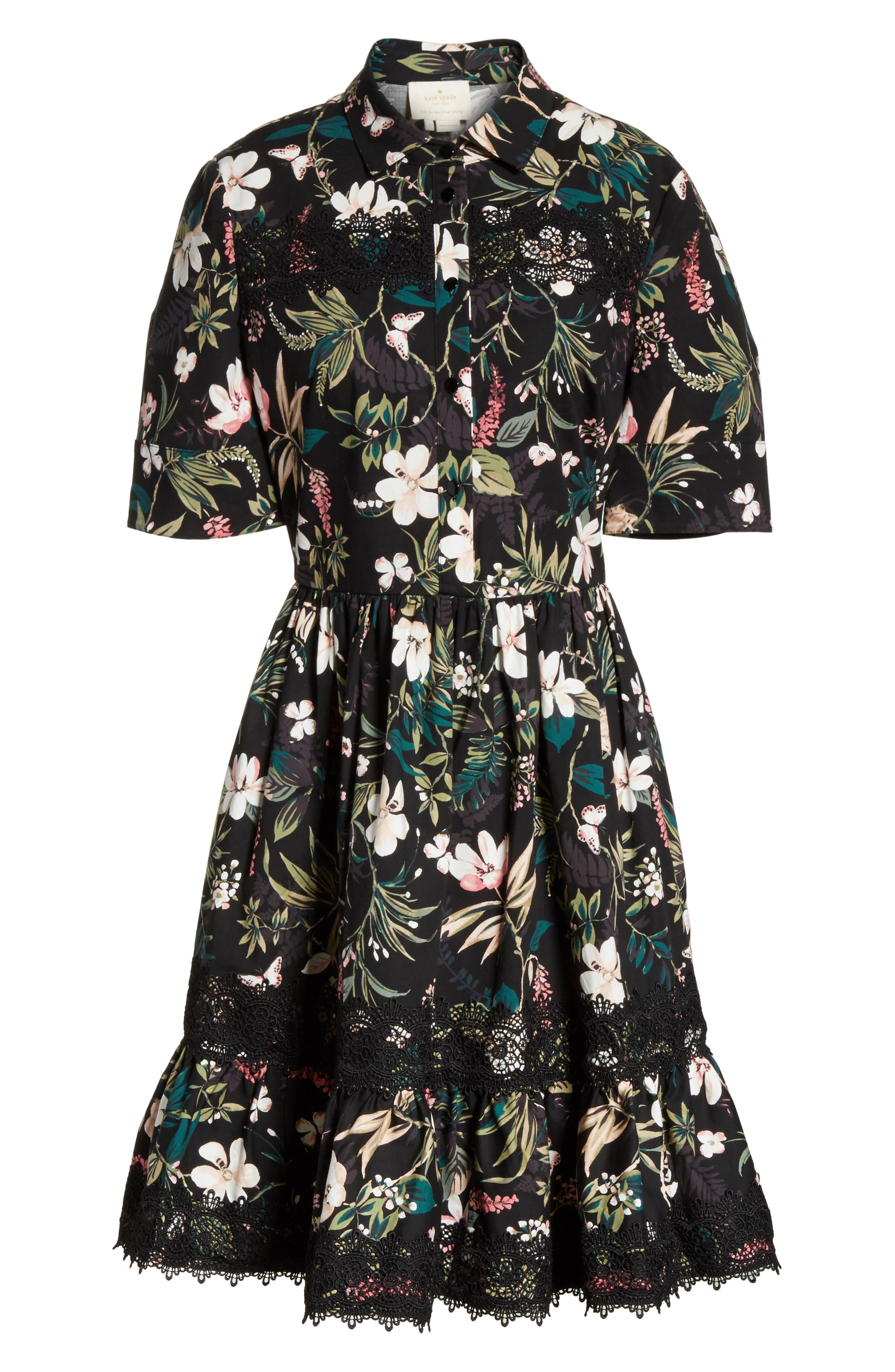 botanical poplin shirtdress,                             Alternate thumbnail 6, color,                             Black