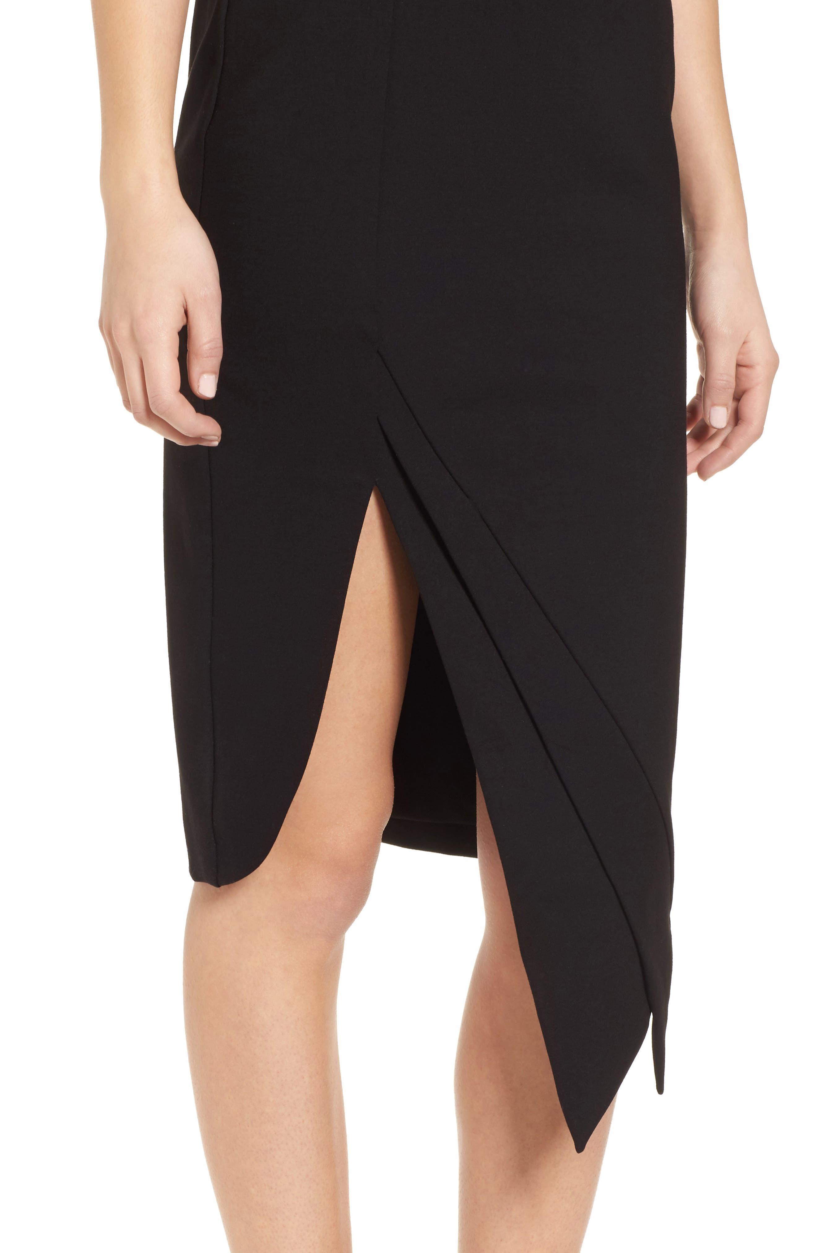 Carmen Sheath Dress,                             Alternate thumbnail 4, color,                             Black