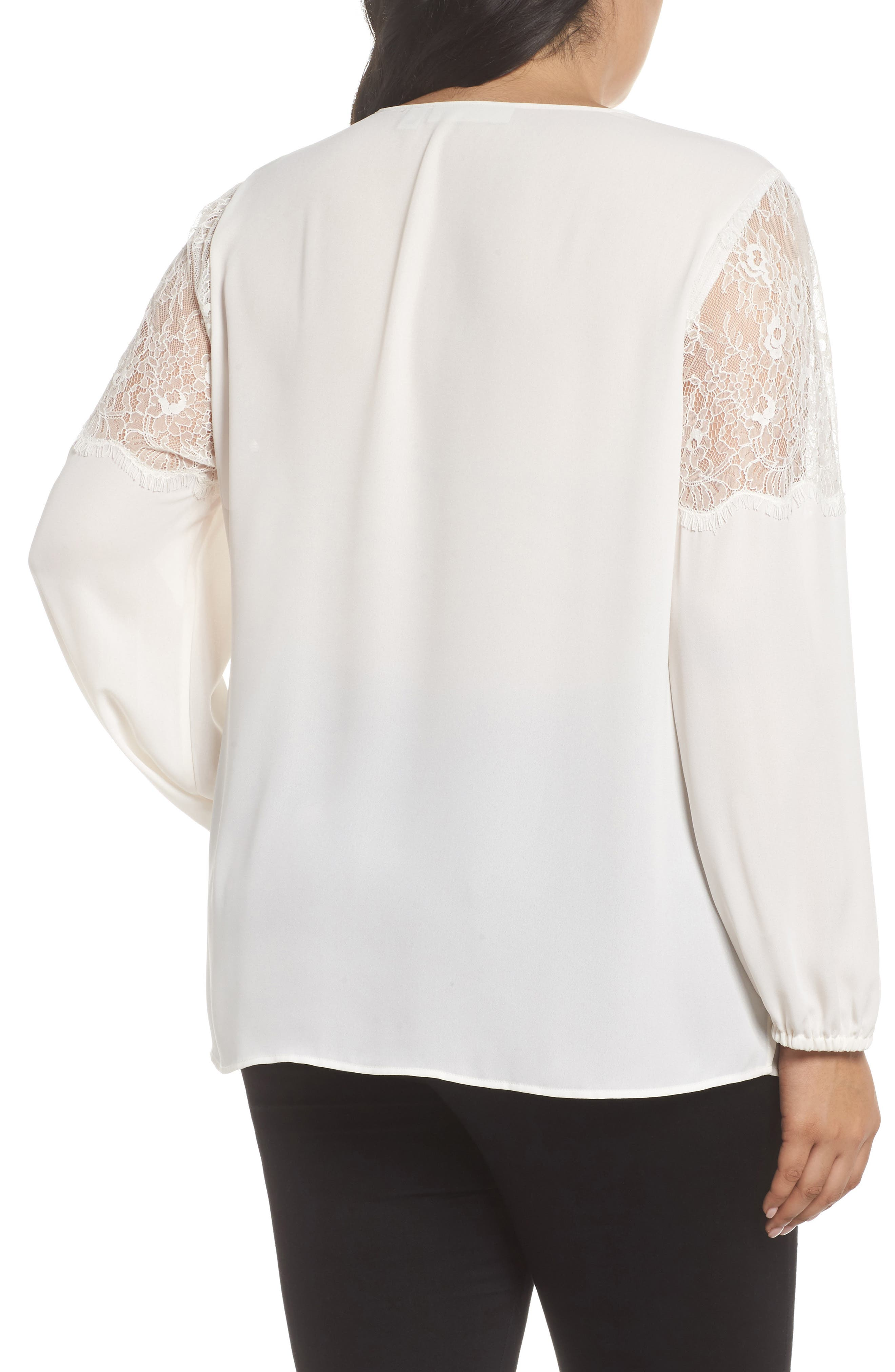 Lace Inset Sleeve Top,                             Alternate thumbnail 2, color,                             Ivory Cloud