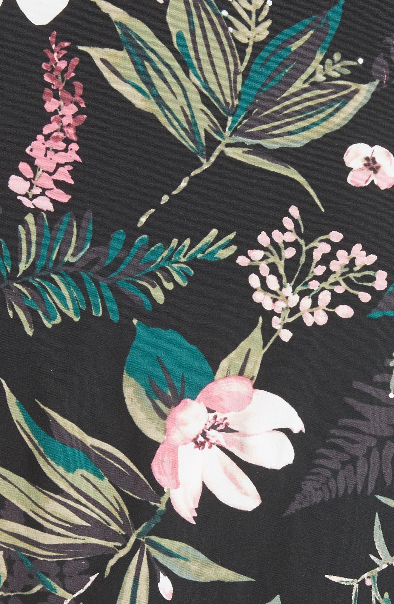 botanical poplin shirtdress,                             Alternate thumbnail 5, color,                             Black