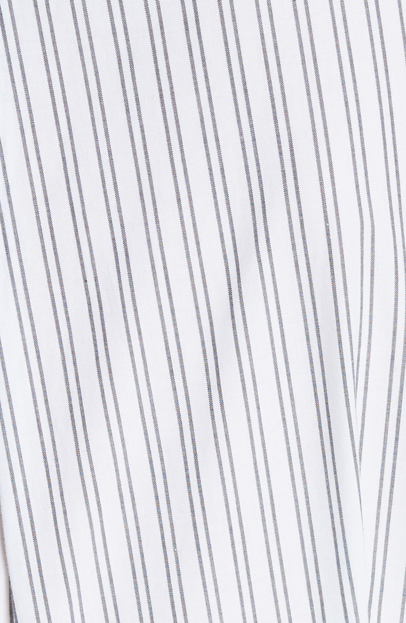 embroidered ruffle trim shirtdress,                             Alternate thumbnail 5, color,                             Fresh White/ Black
