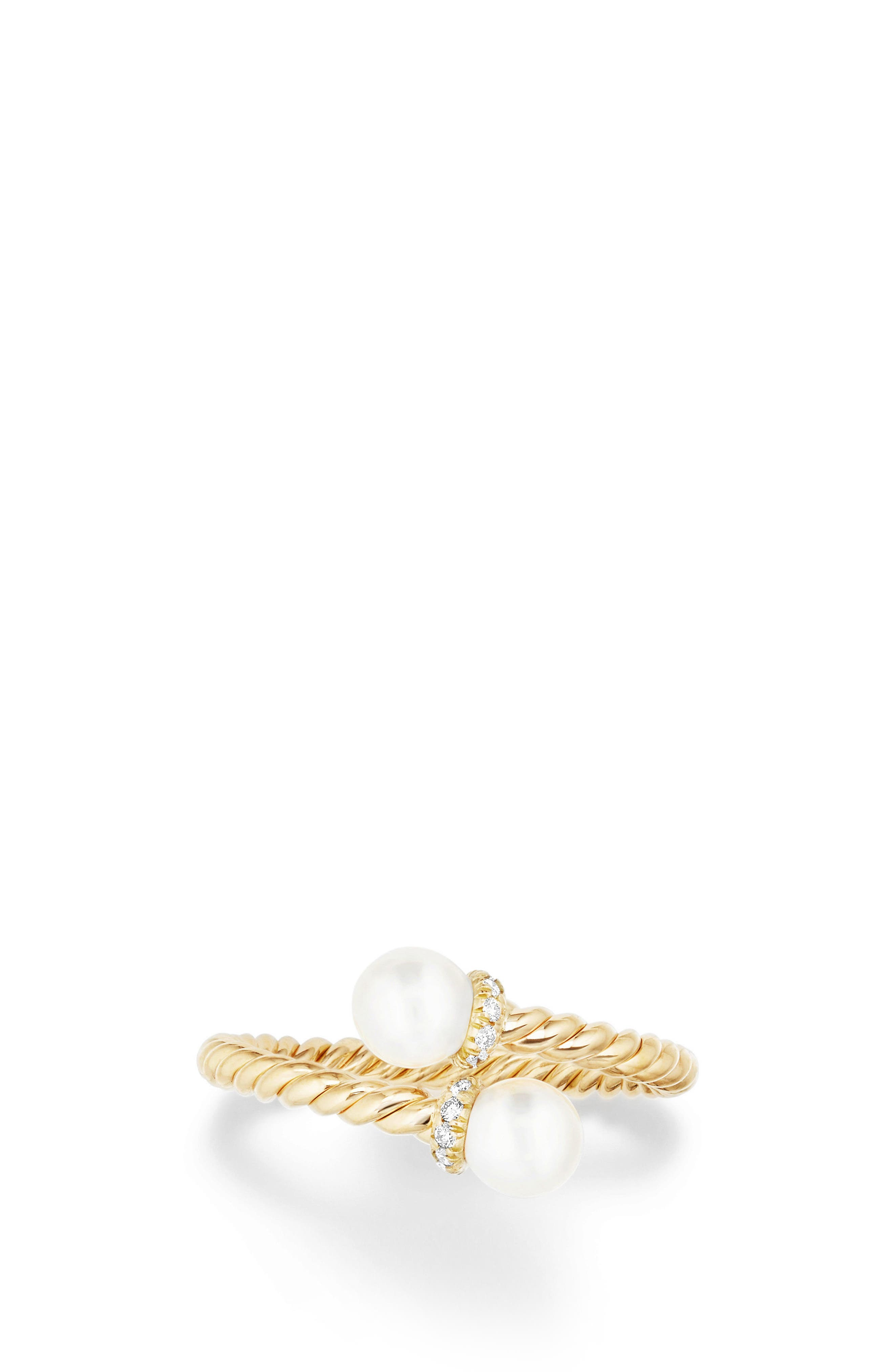 David Yurman Solari Bypass Ring with Pearls & Diamonds in 18K Gold