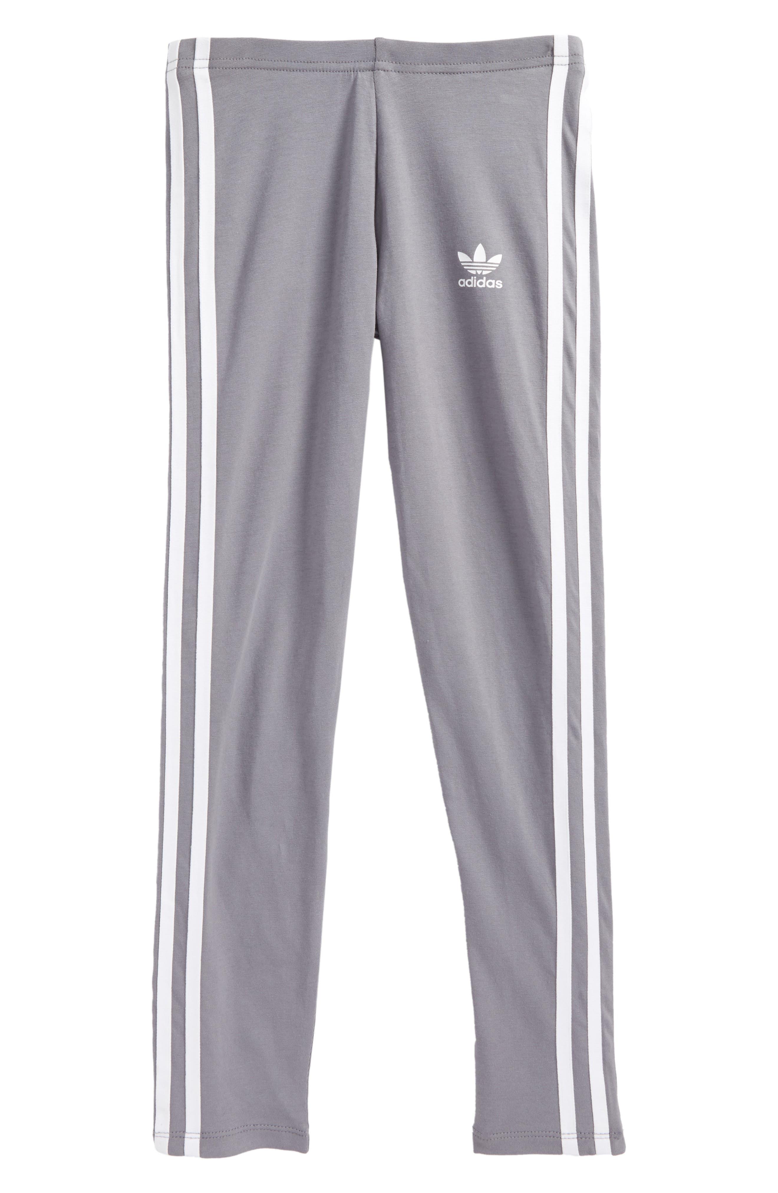 adidas 3-Stripes Leggings,                         Main,                         color, Grey
