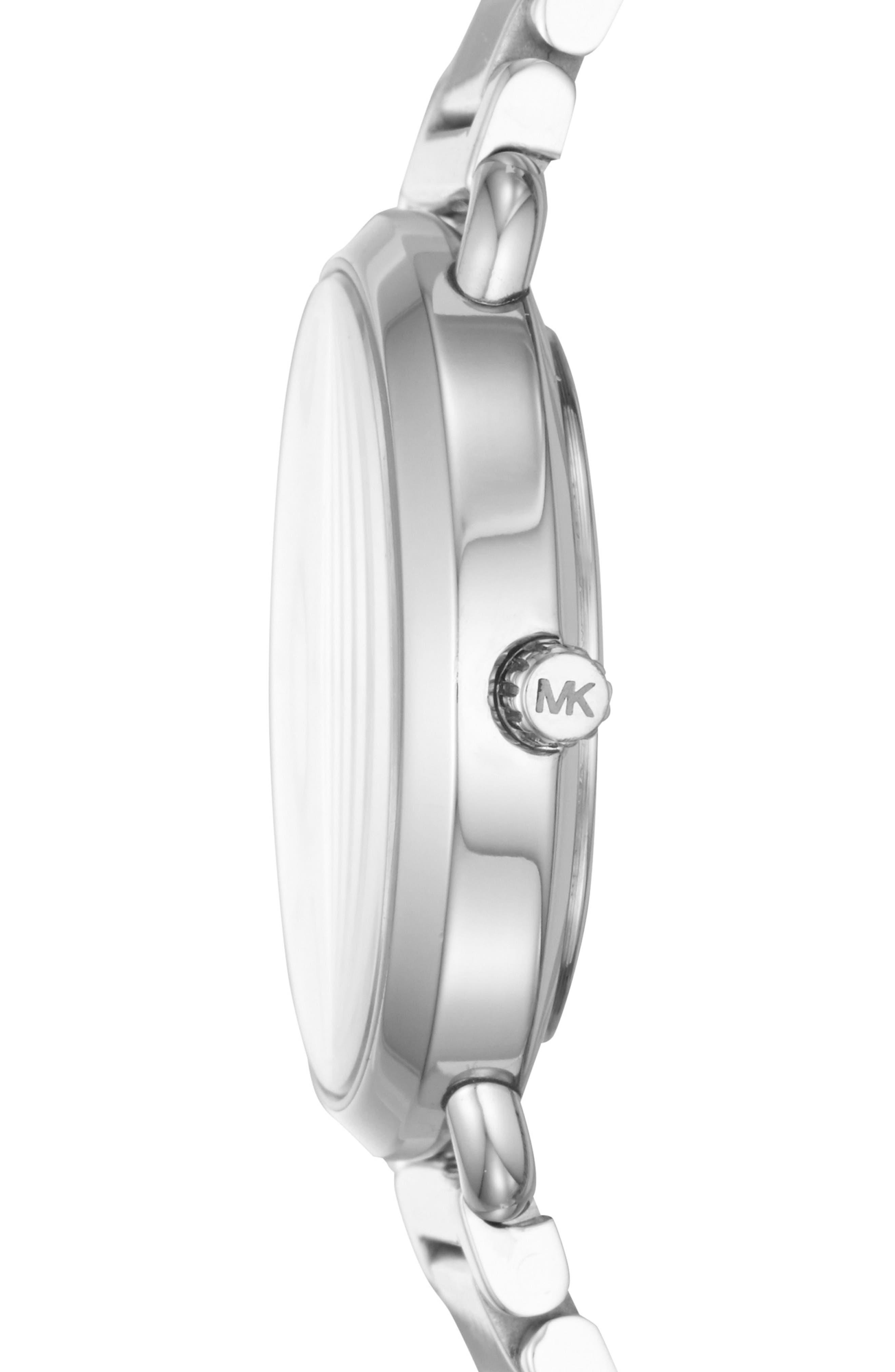 Portia Round Bracelet Watch, 31mm,                             Alternate thumbnail 2, color,                             Silver/ White/ Silver