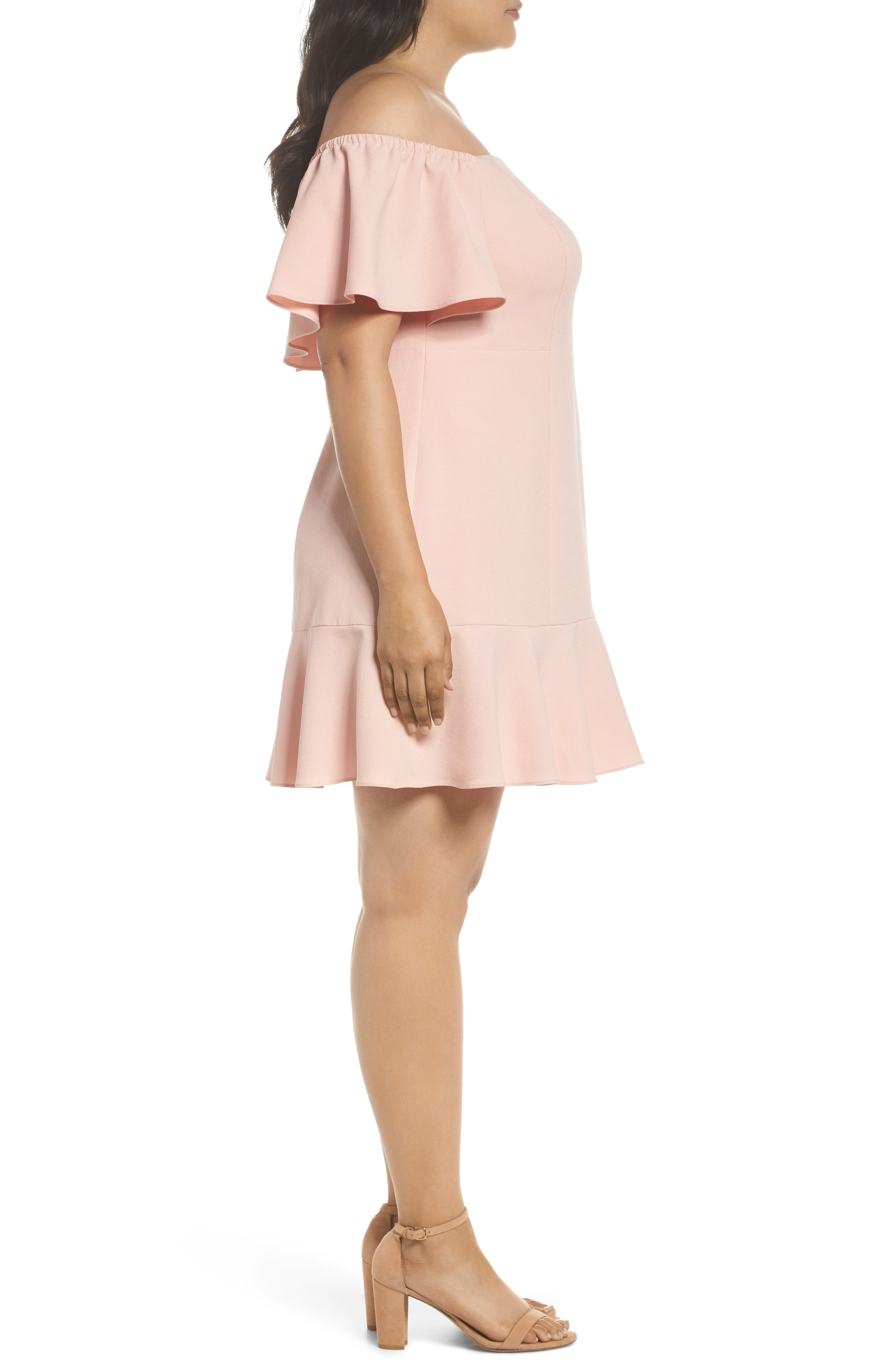Off the Shoulder Crepe Dress,                             Alternate thumbnail 3, color,                             Blush