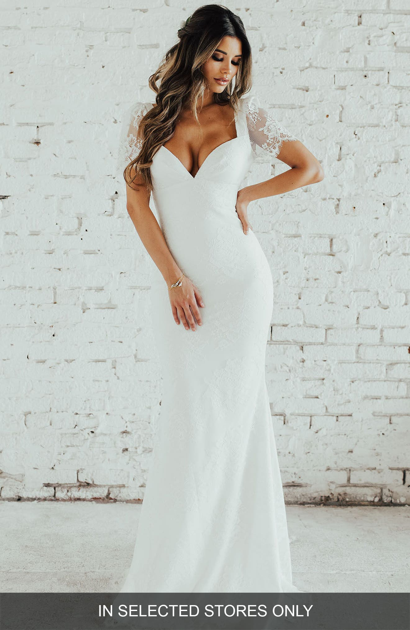 Malaga Lace Trumpet Gown,                             Main thumbnail 1, color,                             Ivory/ Ivory