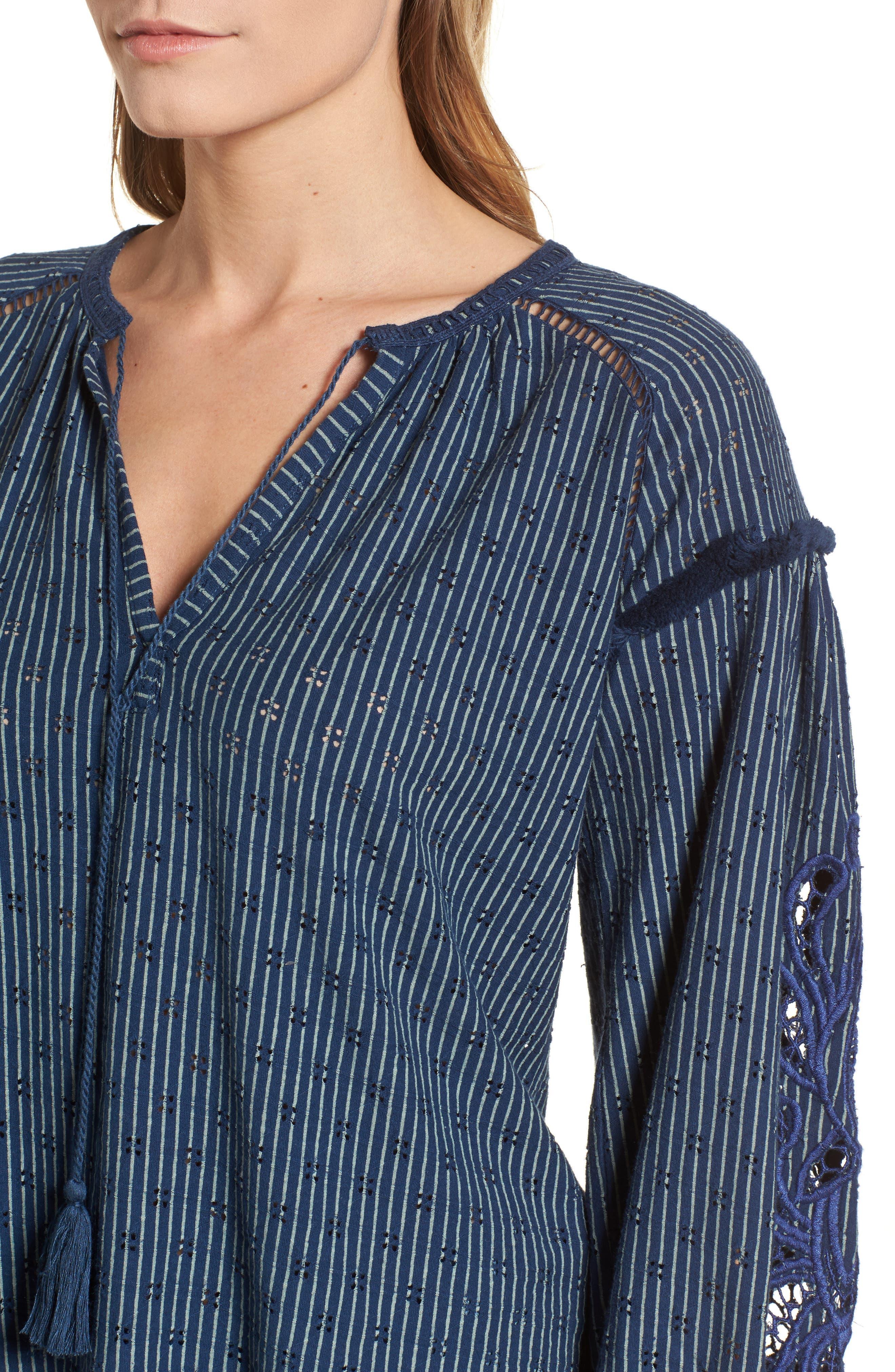 Stripe Peasant Top,                             Alternate thumbnail 4, color,                             Blue Multi