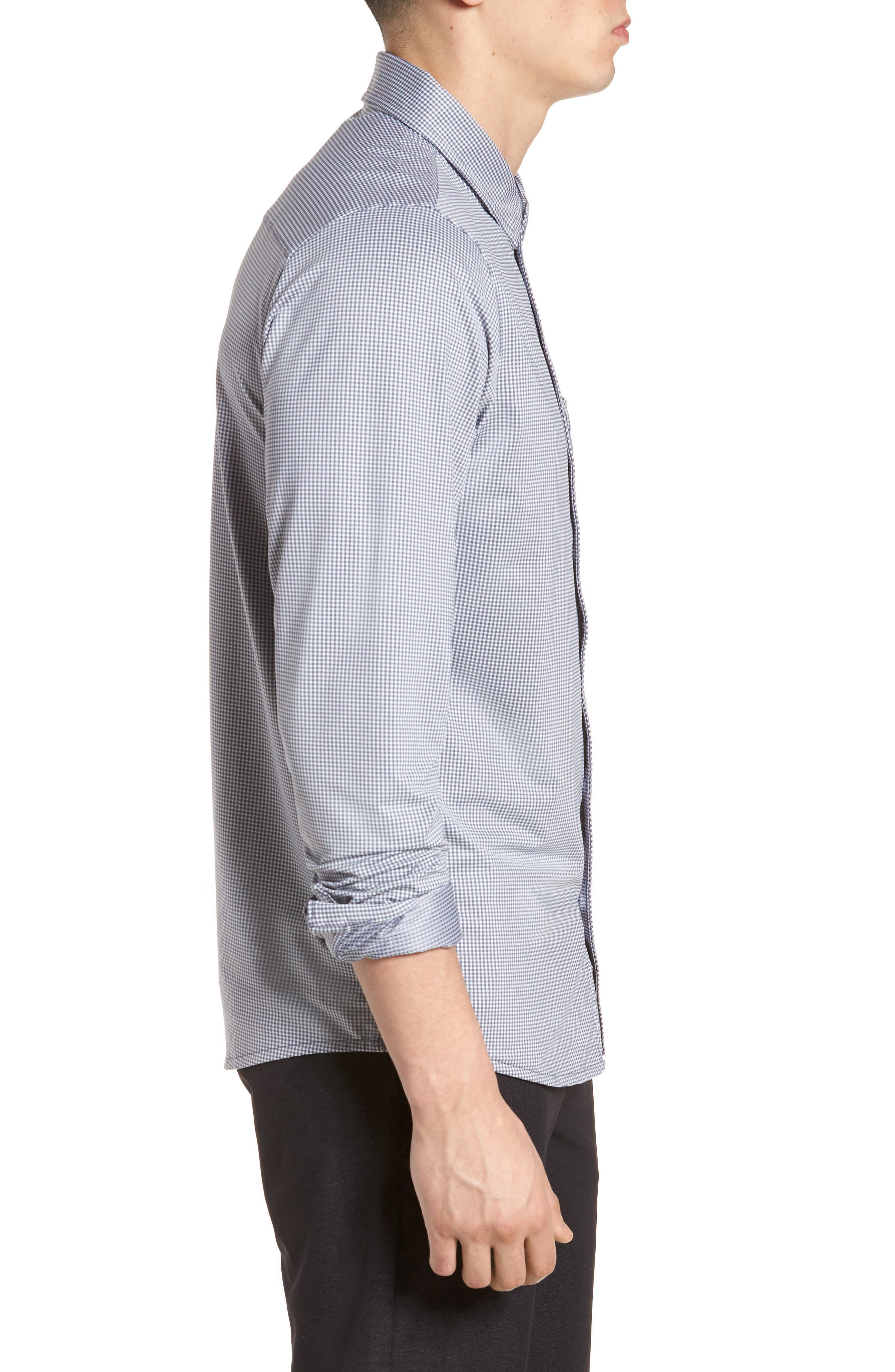 Couig Gingham Sport Shirt,                             Alternate thumbnail 4, color,                             White/ Grisaille
