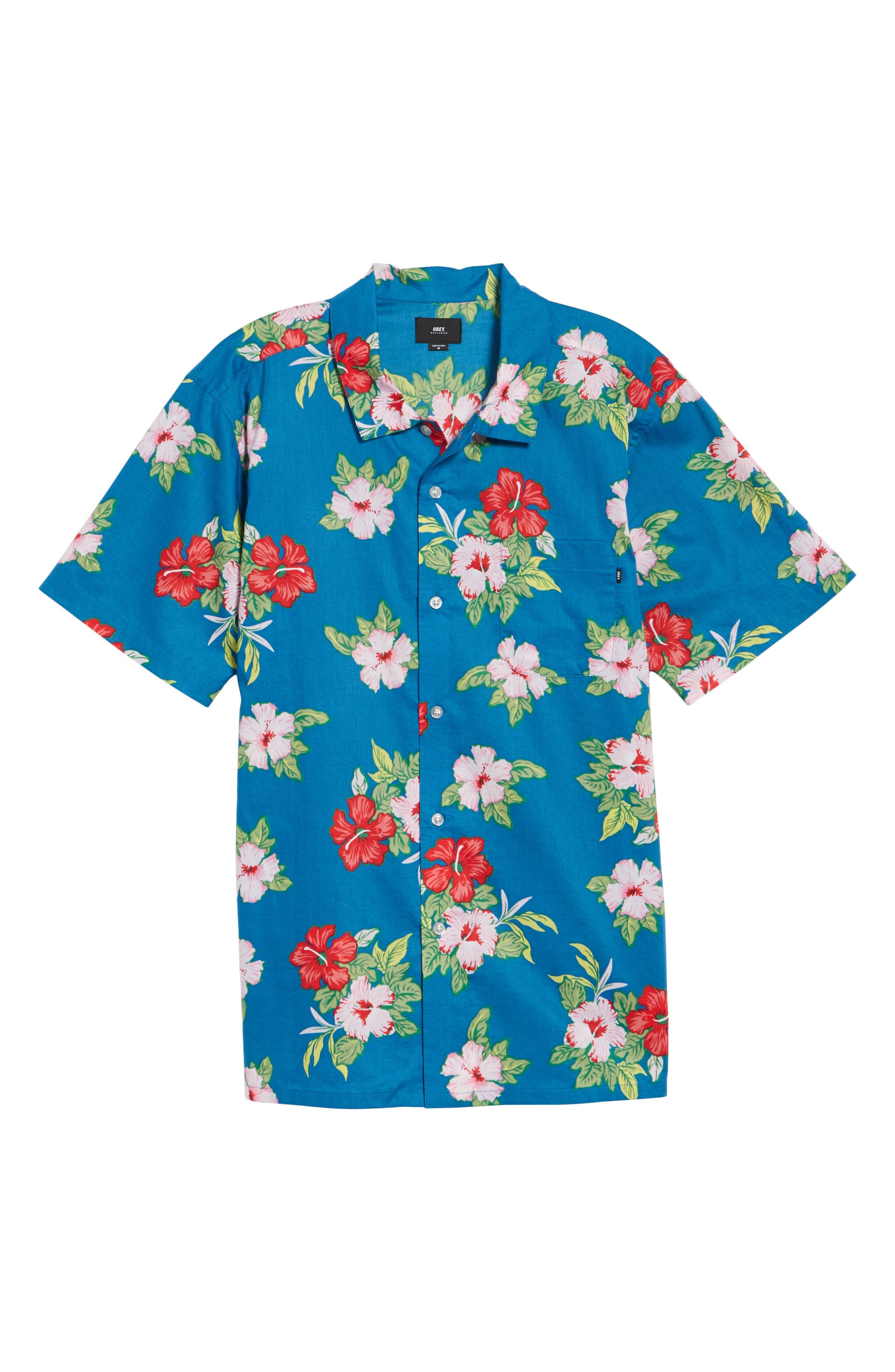 Kane Woven Shirt,                             Alternate thumbnail 6, color,                             Navy Multi