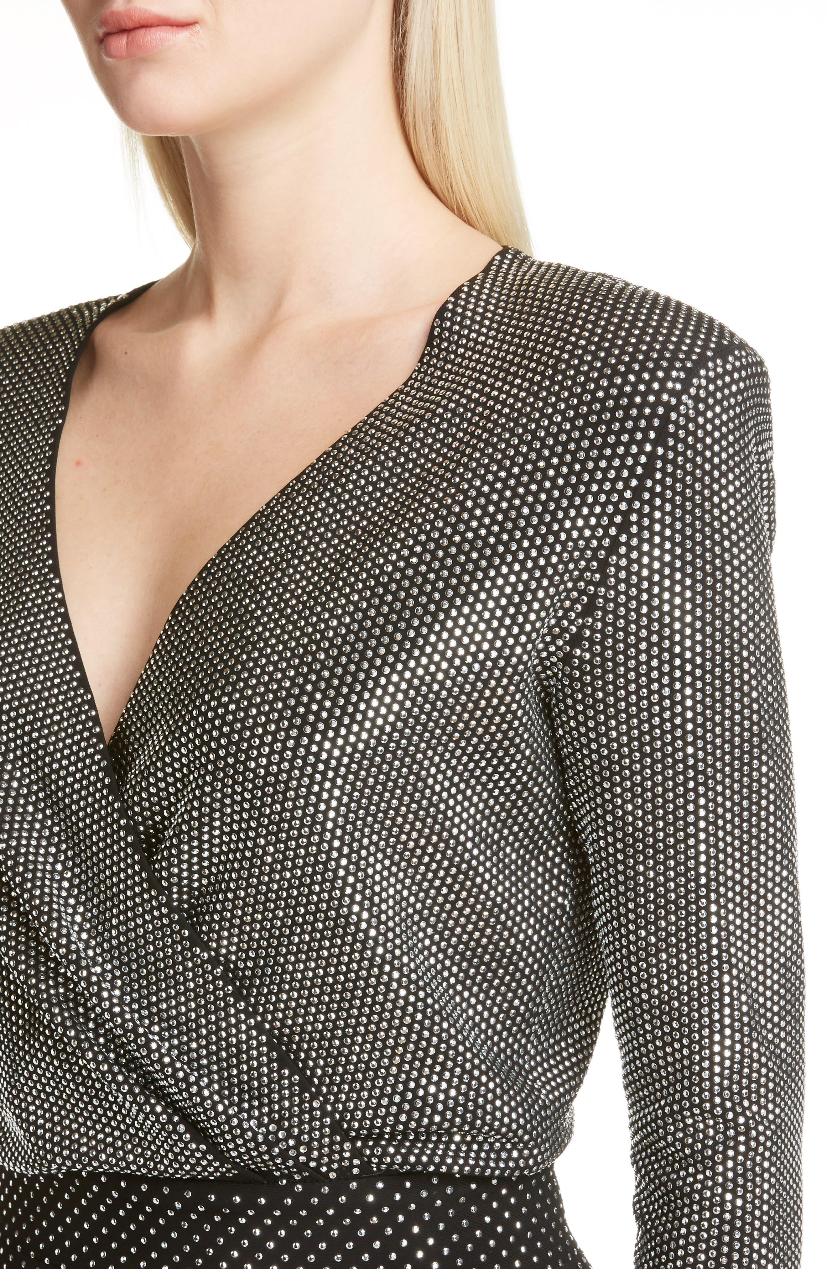 Studded Surplice Minidress,                             Alternate thumbnail 4, color,                             Black/ Silver