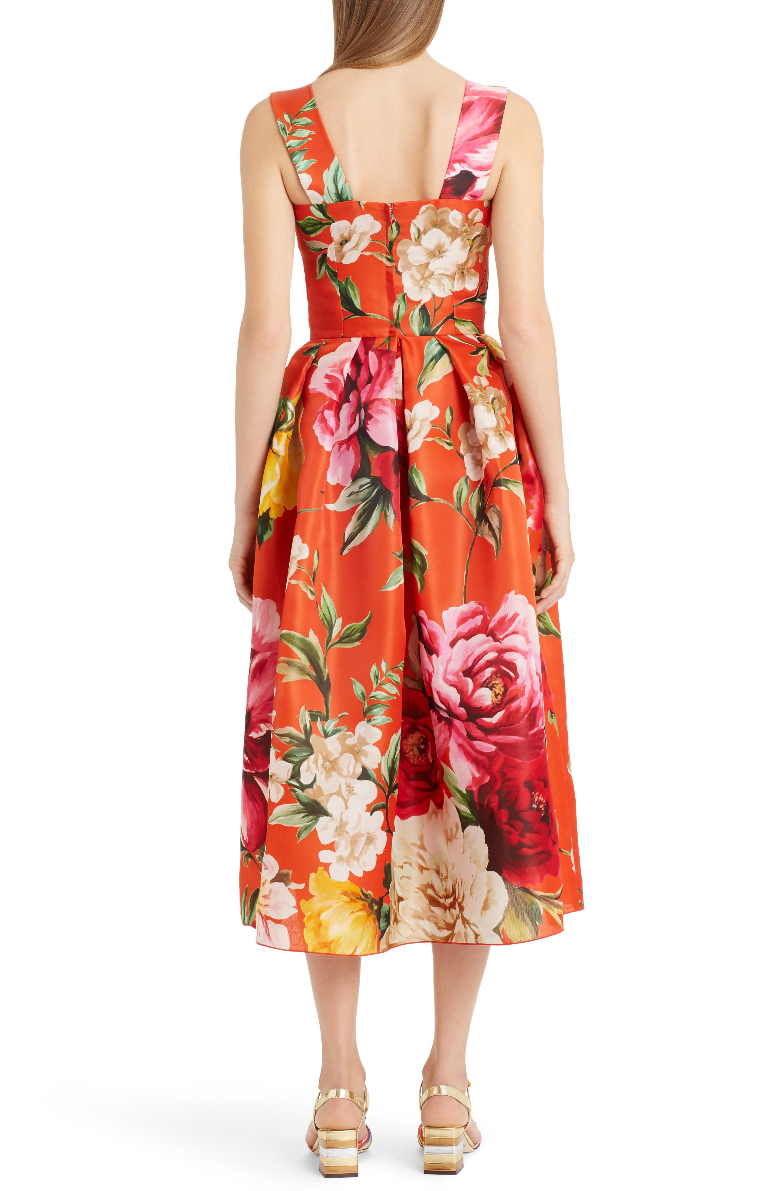 Floral Print Silk Organza Tea Length Dress,                             Alternate thumbnail 2, color,                             Orange