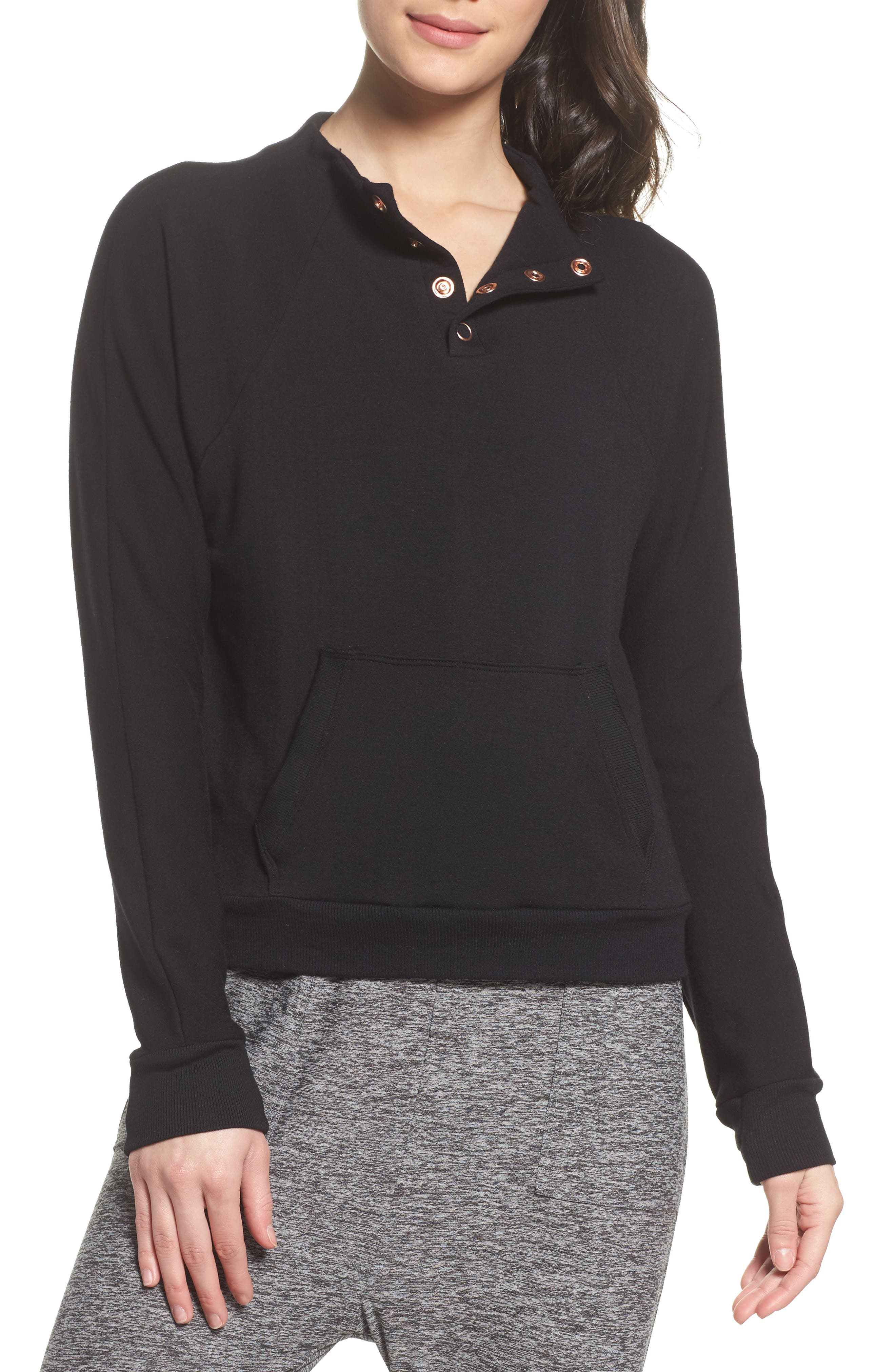 Snap Me Down Pullover,                         Main,                         color, Black