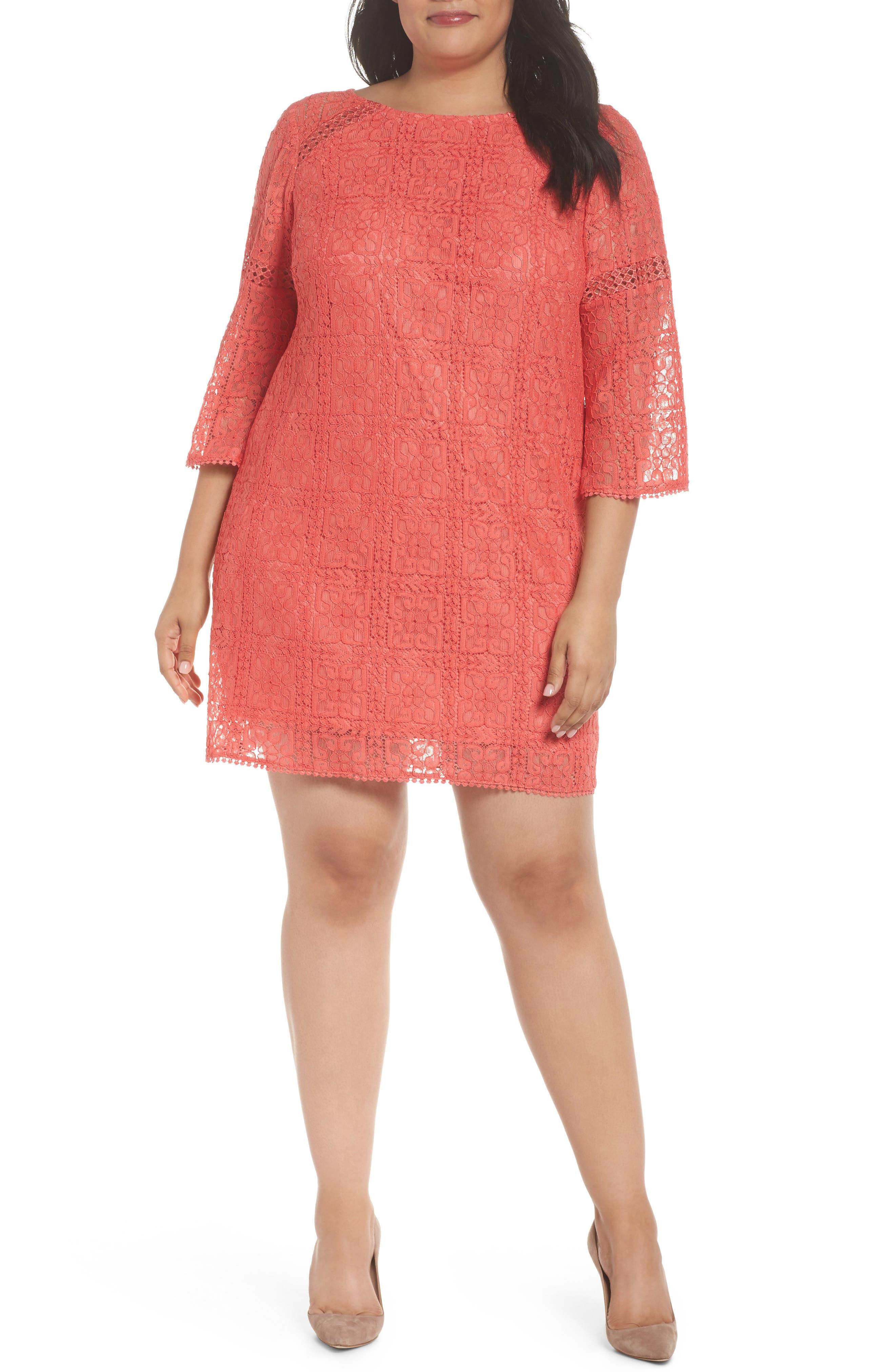 Marni Lace Shift Dress,                             Main thumbnail 1, color,                             Cruise Coral