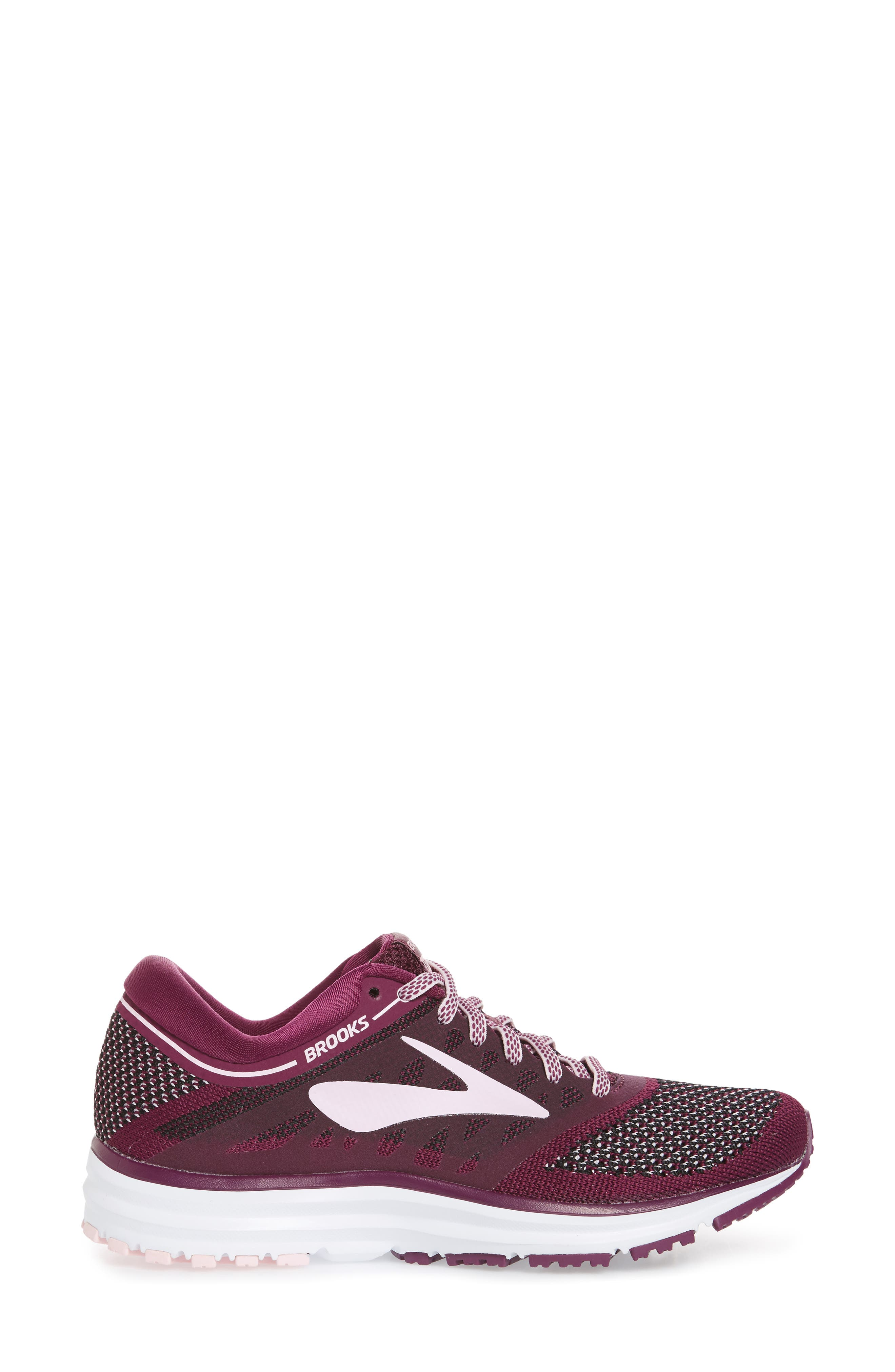 Revel Running Shoe,                             Alternate thumbnail 3, color,                             Plum/ Pink/ Black
