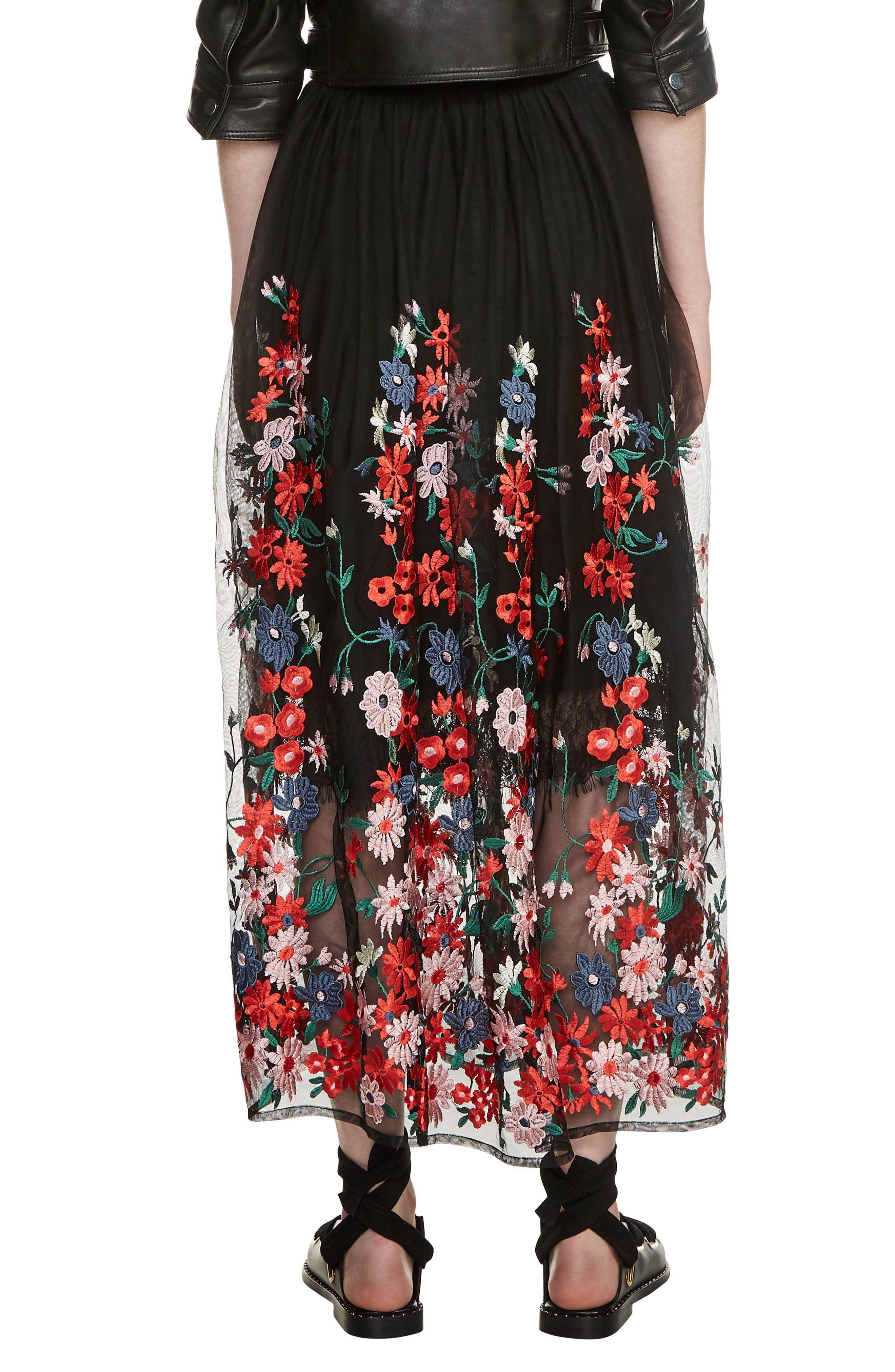 Jamie Embroidered Maxi Skirt,                             Alternate thumbnail 2, color,                             Black 210