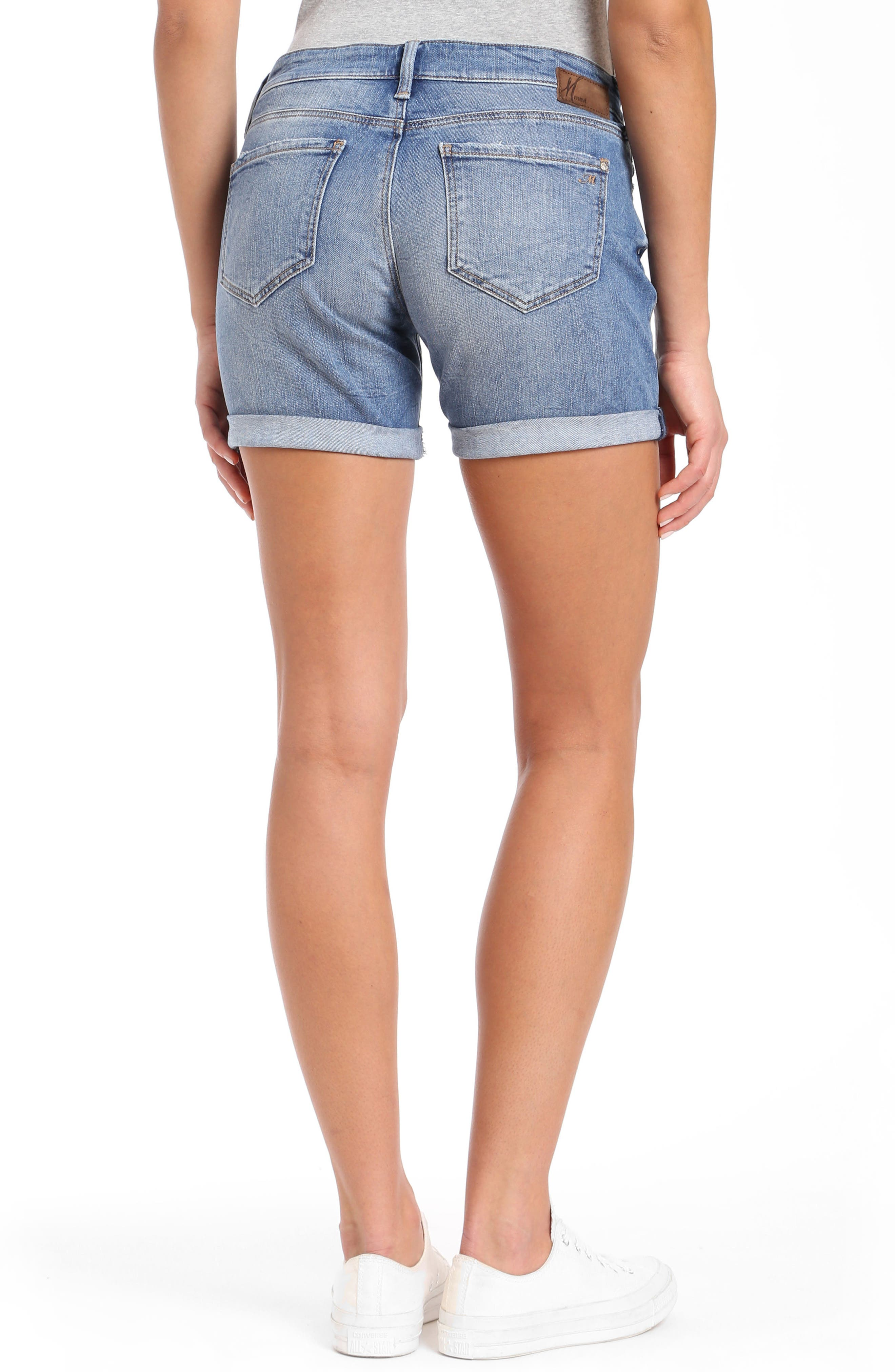 Pixie Denim Boyfriend Shorts,                             Alternate thumbnail 2, color,                             Distressed Vintage