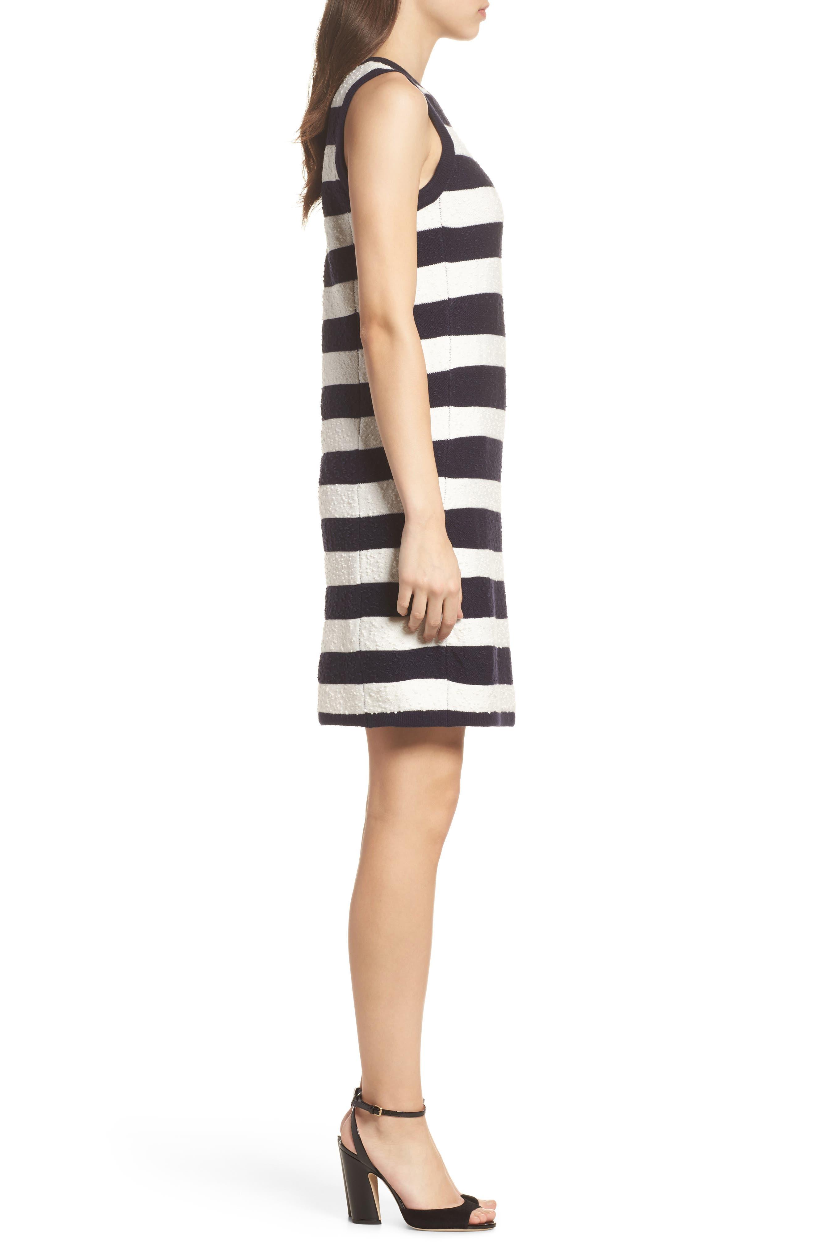 Stripe Sweater Dress,                             Alternate thumbnail 3, color,                             Navy/ Ivory