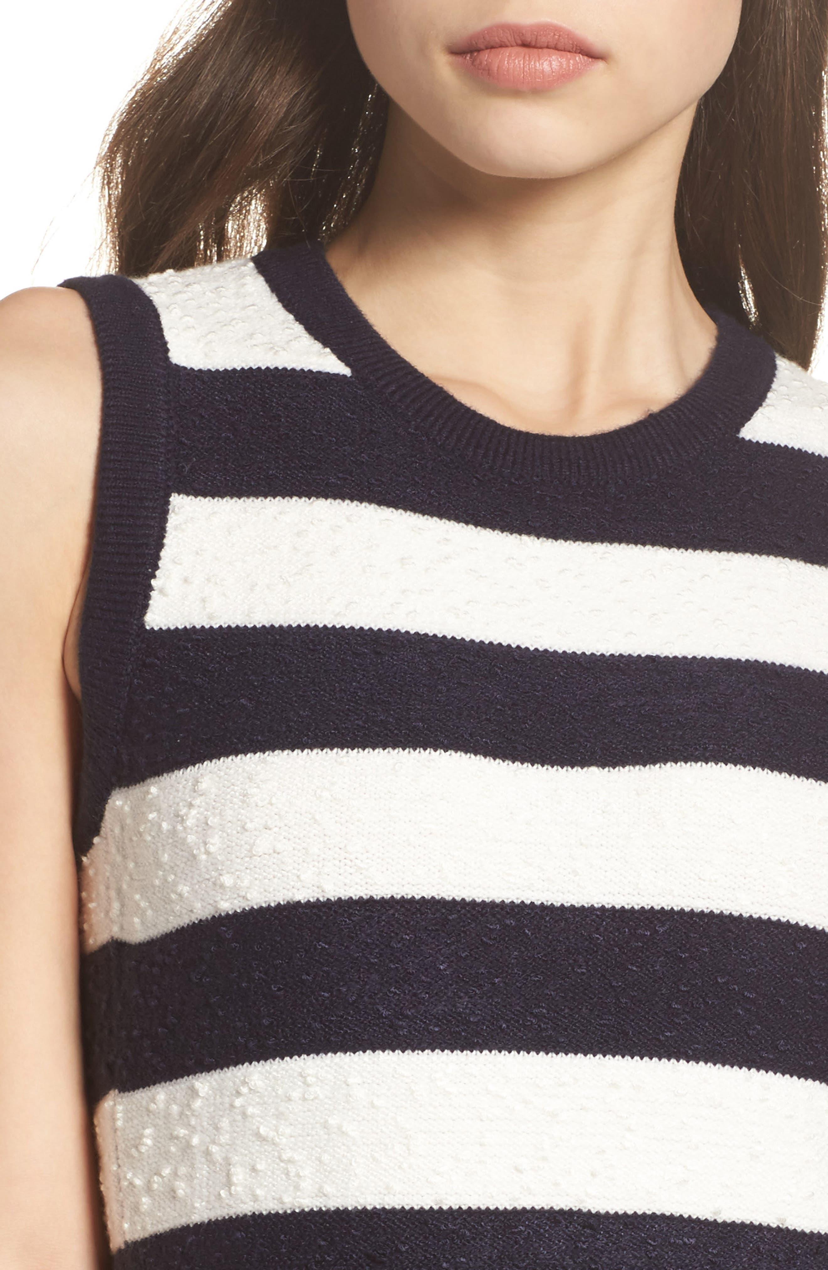 Stripe Sweater Dress,                             Alternate thumbnail 4, color,                             Navy/ Ivory