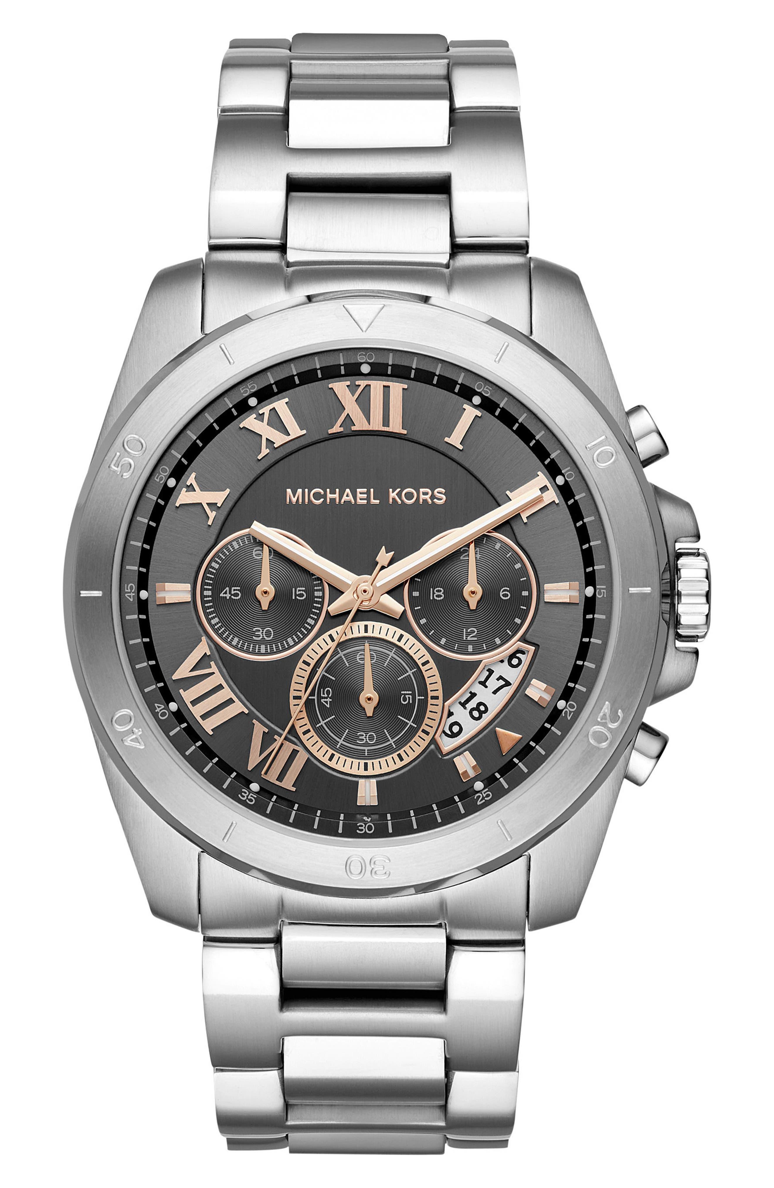 Brecken Chronograph Bracelet Watch, 44mm,                         Main,                         color, Silver/ Grey/ Silver