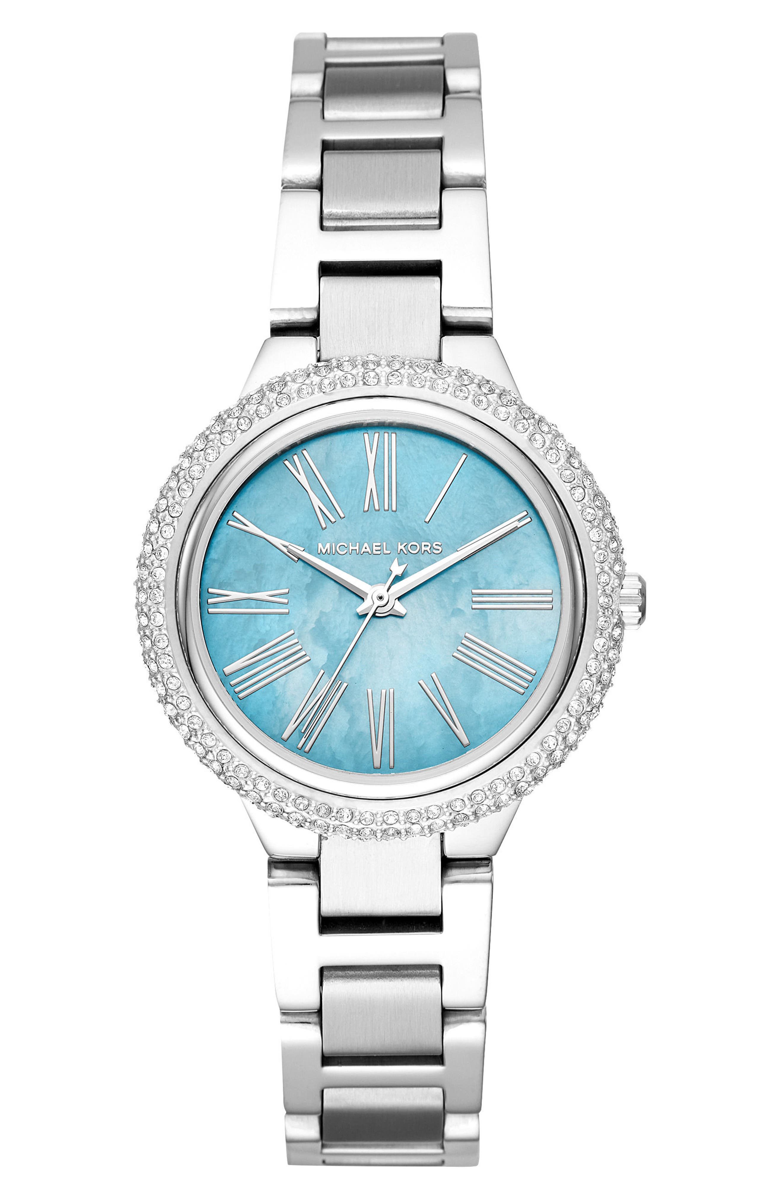 Taryn Crystal Bracelet Watch, 33mm,                             Main thumbnail 1, color,                             Silver/ Turquoise/ Silver