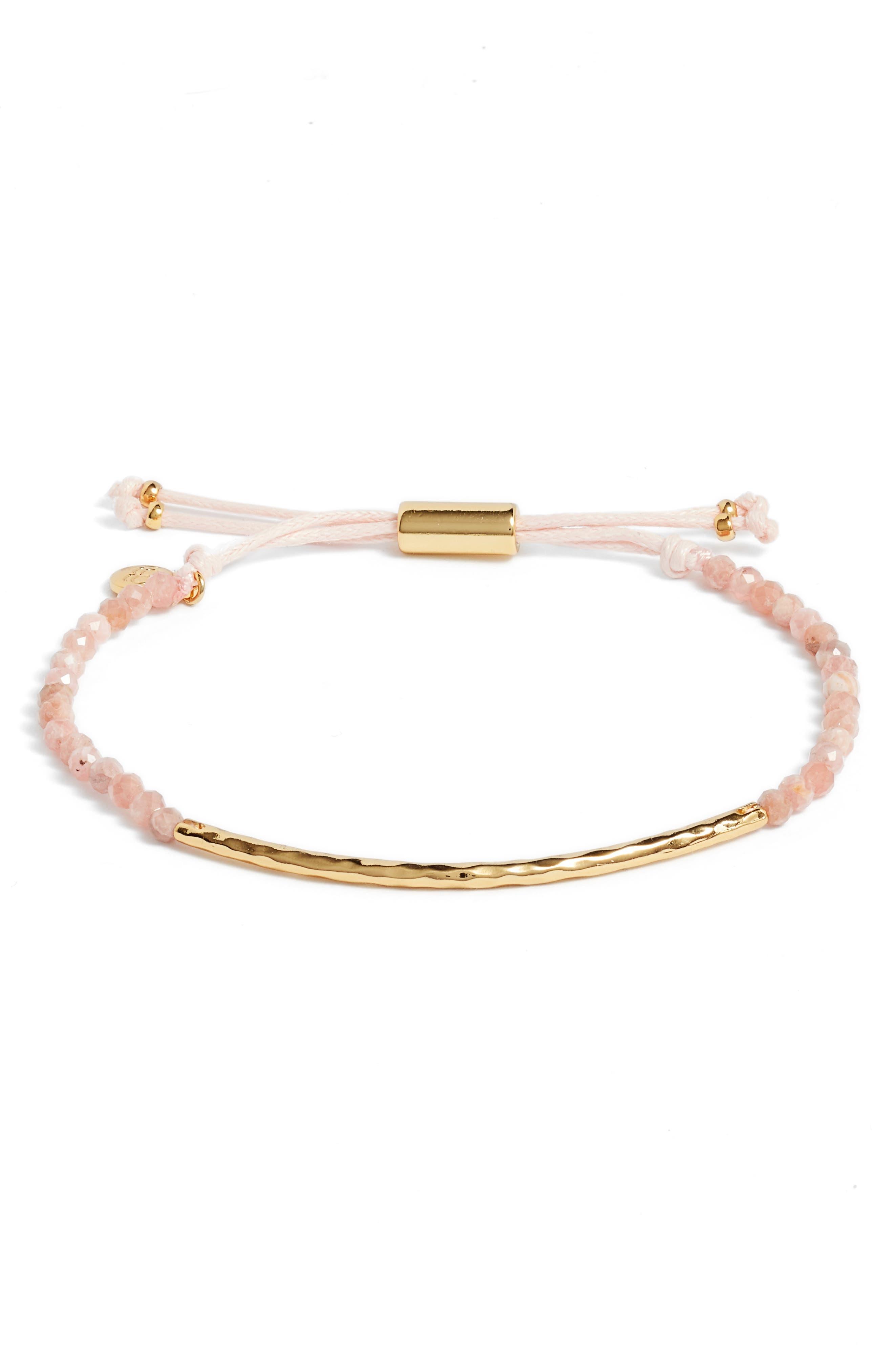 Compassion Gemstone Bracelet,                         Main,                         color, Rhodocrosite/ Gold