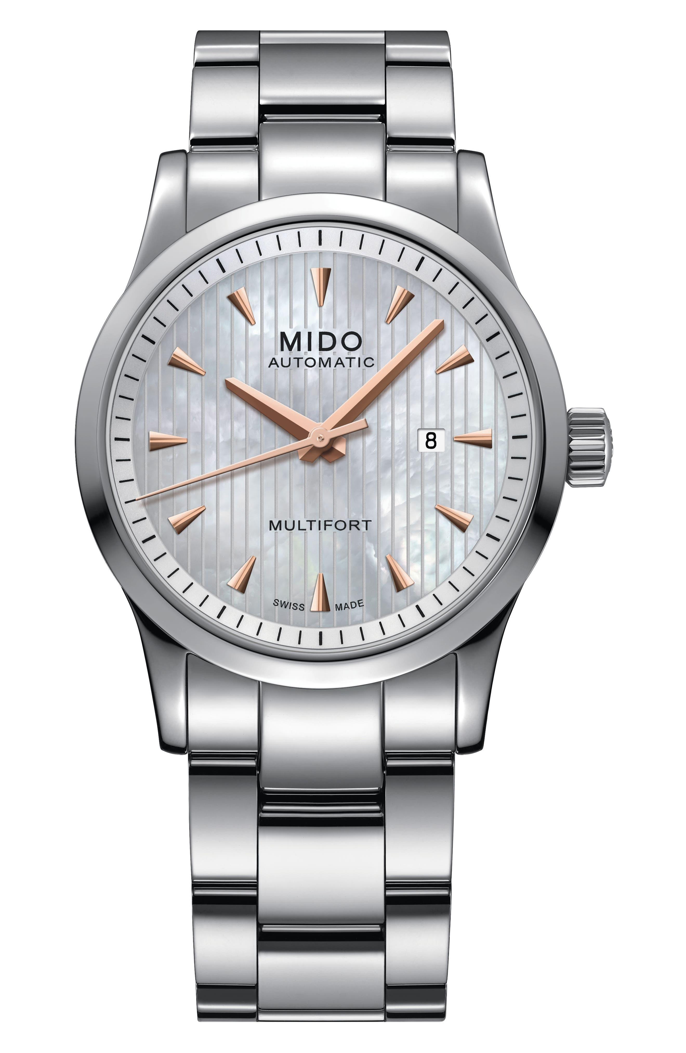 Multifort Automatic Bracelet Watch, 31mm,                         Main,                         color, Silver/ Mop/ Silver