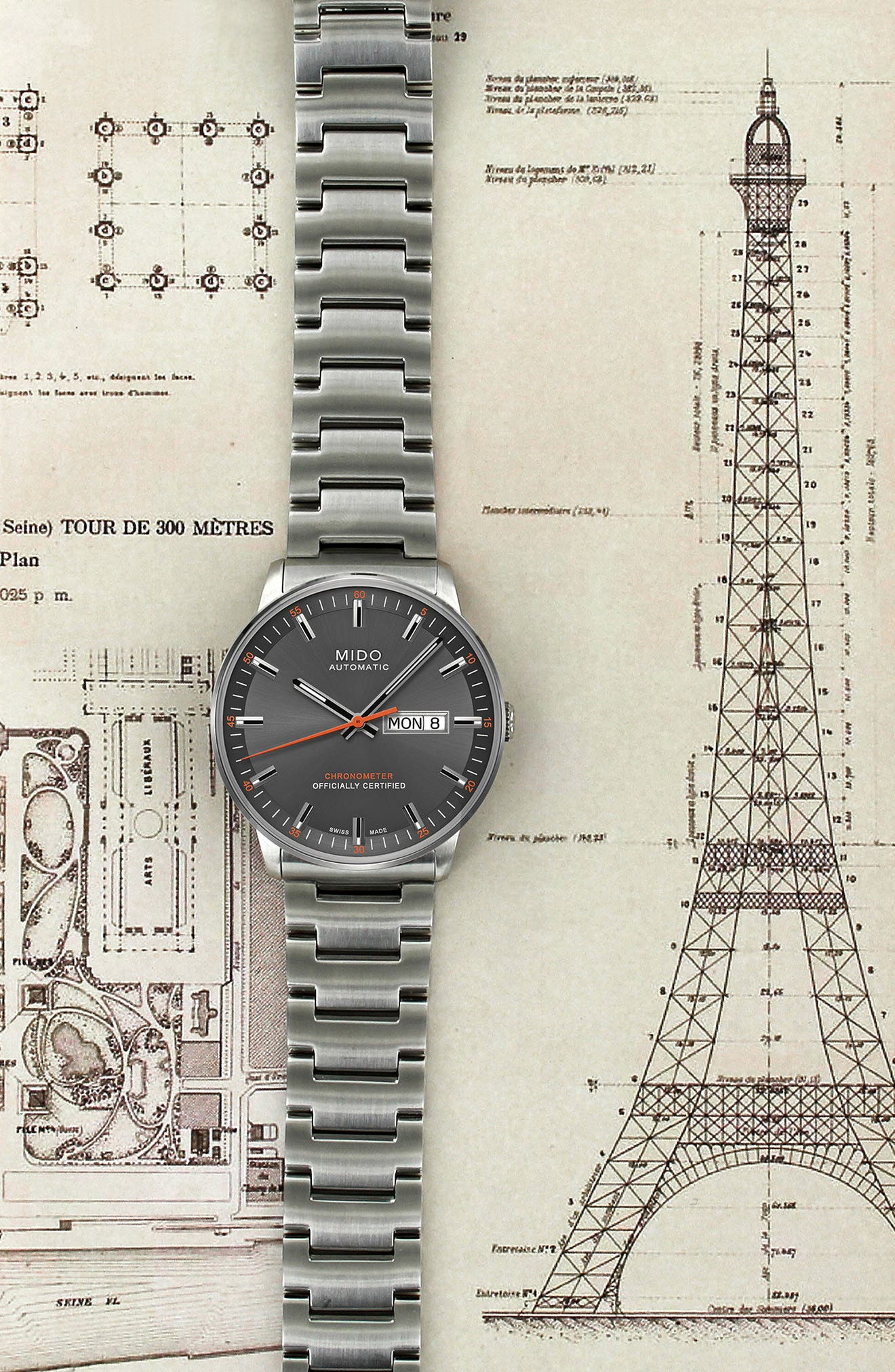 Commander Chronometer Bracelet Watch, 40mm,                             Alternate thumbnail 4, color,                             Silver/ Grey/ Silver