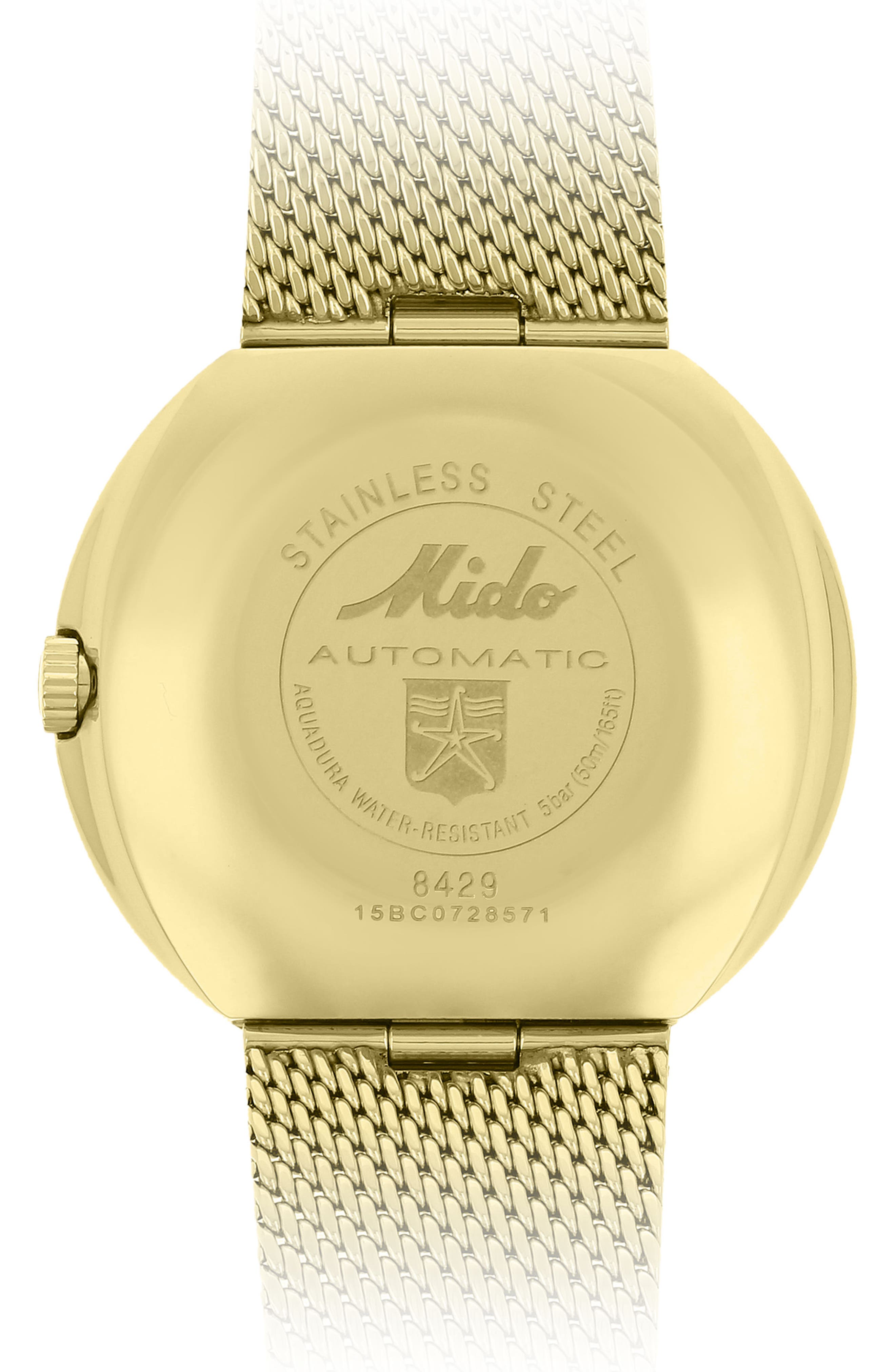 Commander Automatic Mesh Strap Watch, 37mm,                             Alternate thumbnail 3, color,                             Gold/ Yellow/ Gold