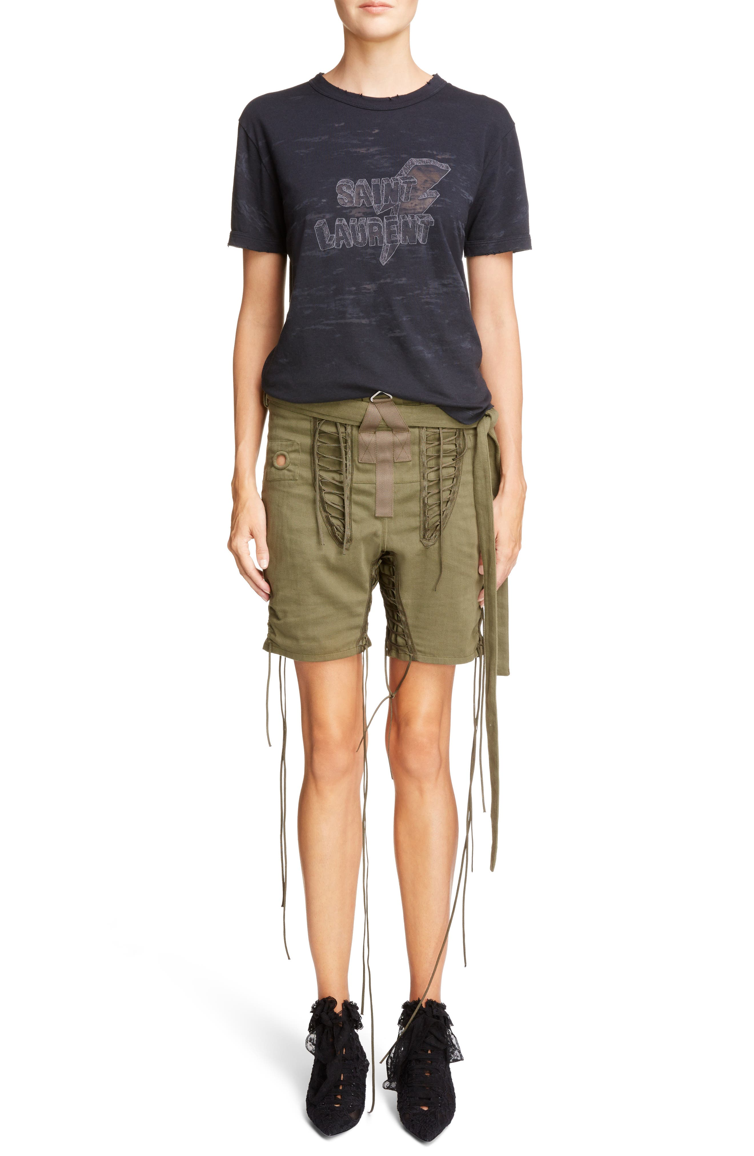 Laced Cotton & Linen Shorts,                             Alternate thumbnail 8, color,                             Kaki