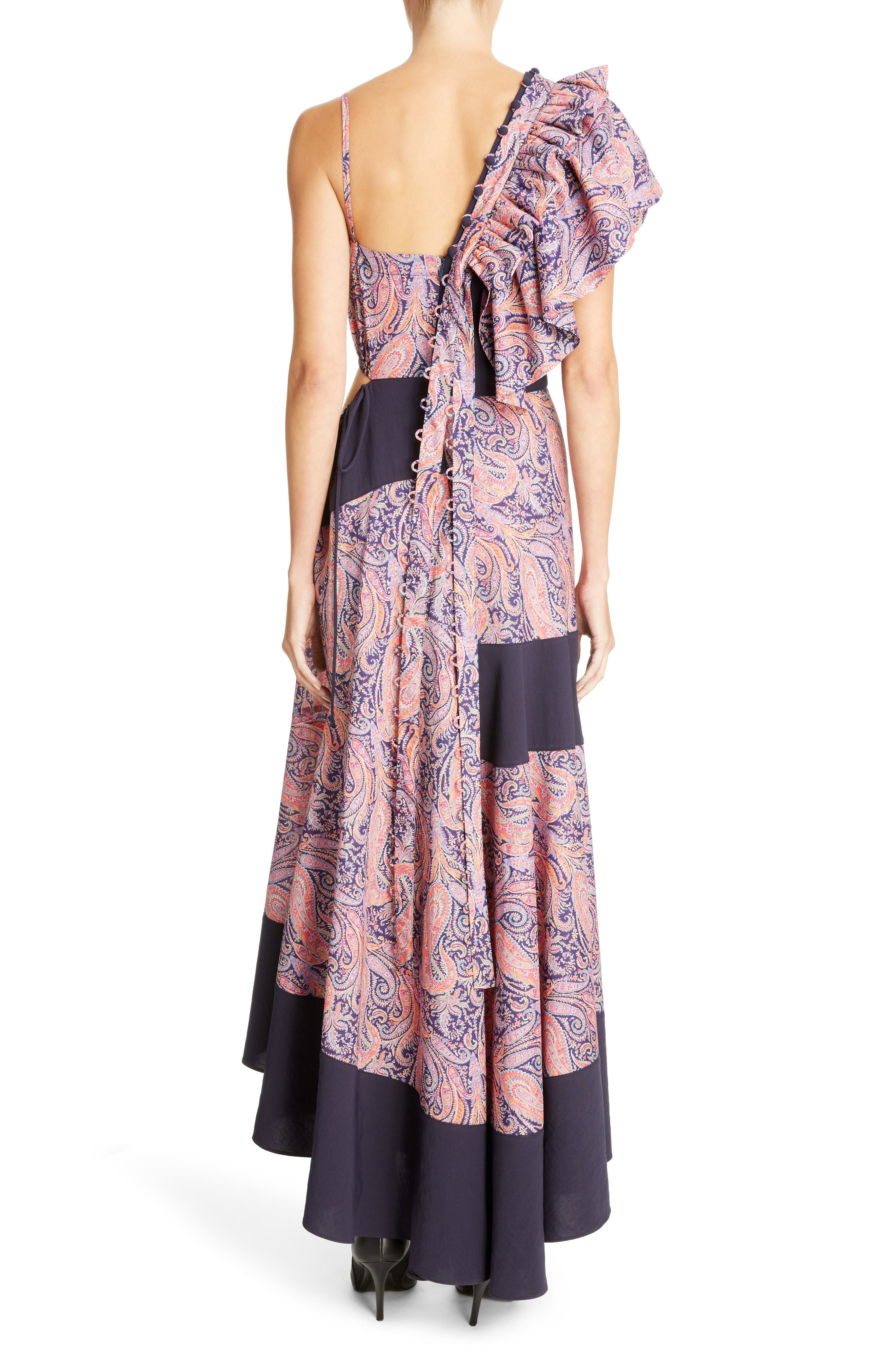 Asymmetrical Ruffle Shoulder Dress,                             Alternate thumbnail 2, color,                             Multicolor/ Black