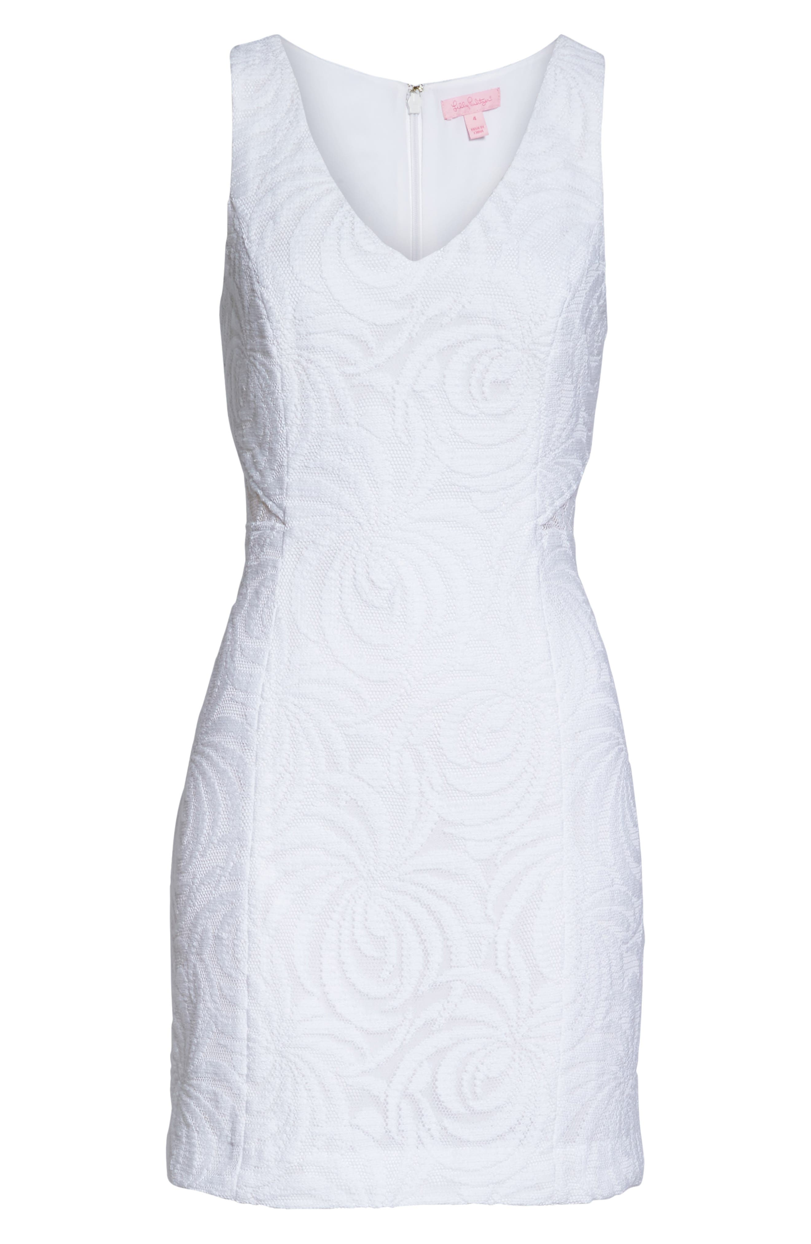 Blakely Lace Shift Dress,                             Alternate thumbnail 6, color,                             Resort White Sea Swirling Lace