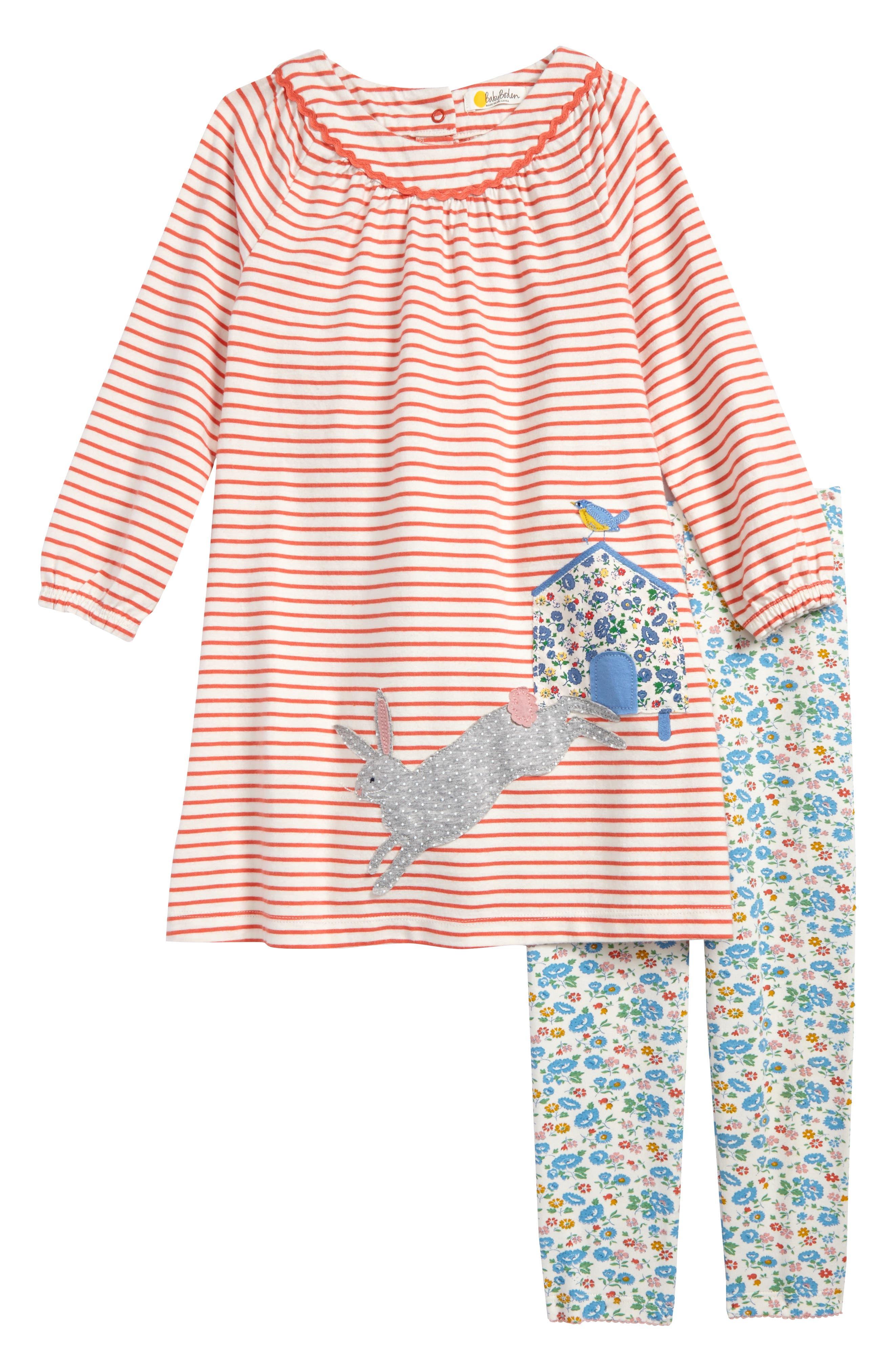 Mini Boden Patchwork Appliqué Dress & Leggings Set (Baby Girls & Toddler Girls)
